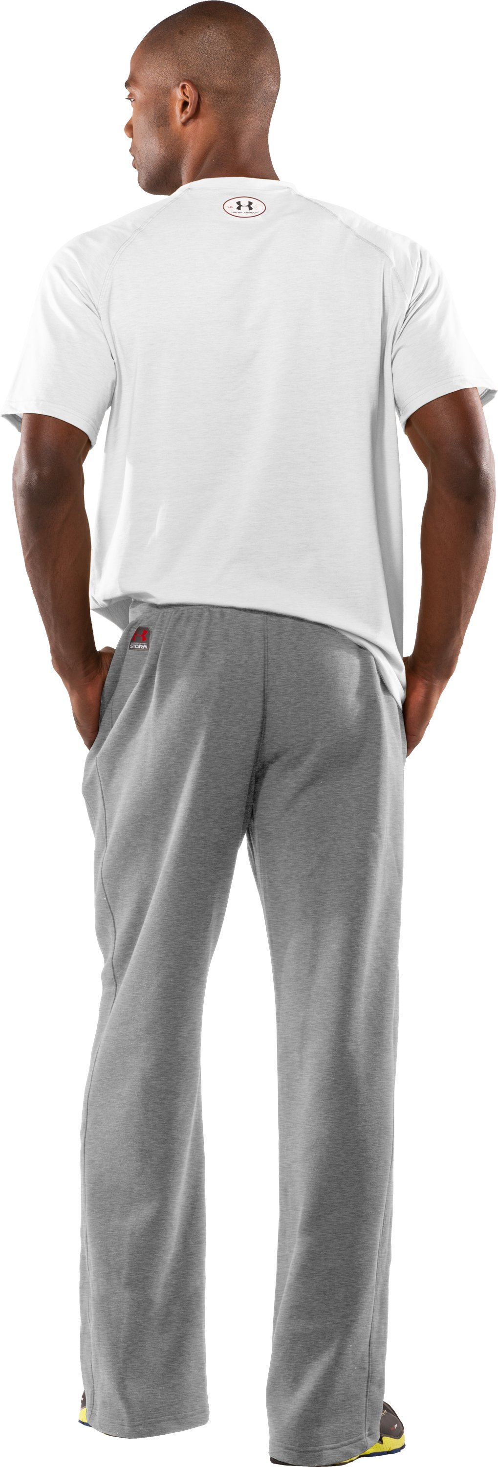 Men's Team Charged Cotton® Storm Pants, True Gray Heather, Back