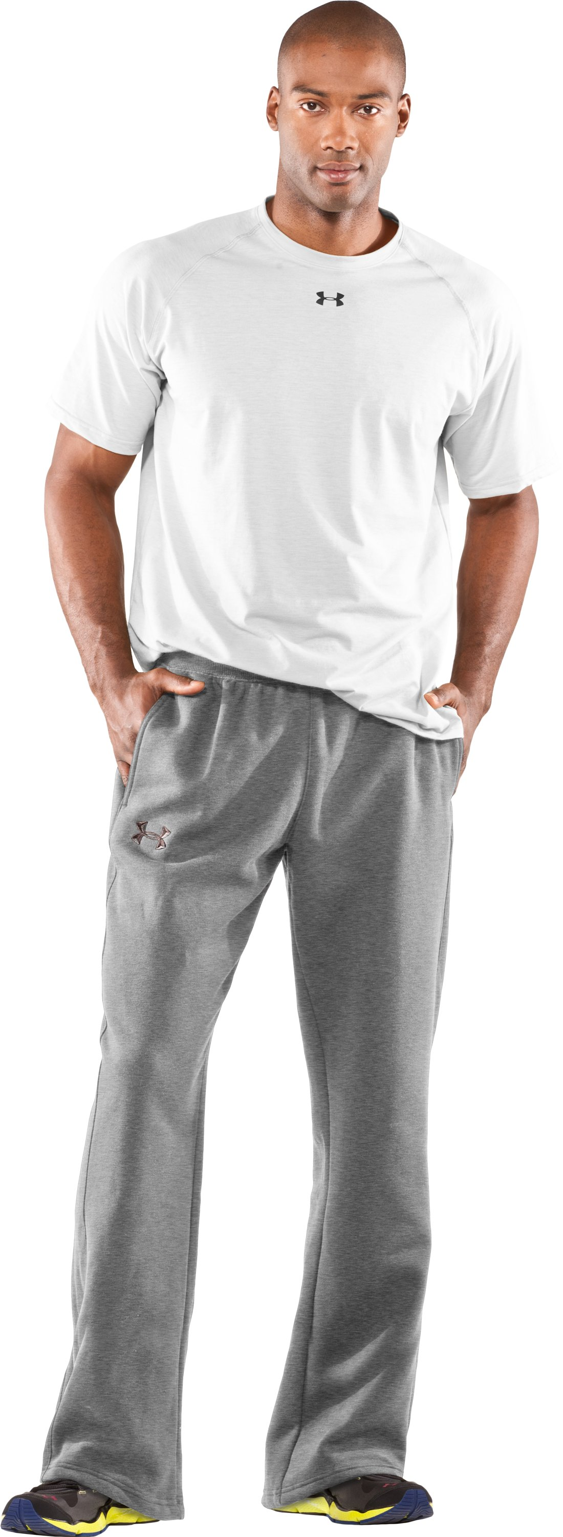 Men's Team Charged Cotton® Storm Pants, True Gray Heather, Front