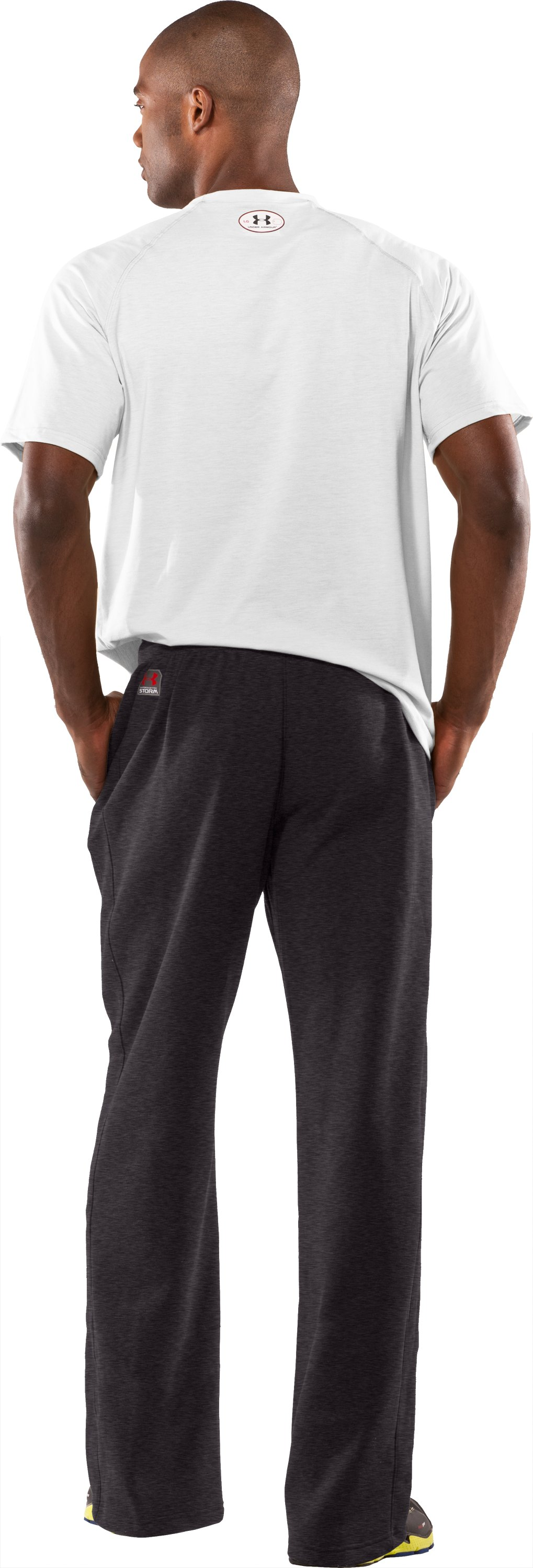 Men's Team Charged Cotton® Storm Pants, Carbon Heather, Back