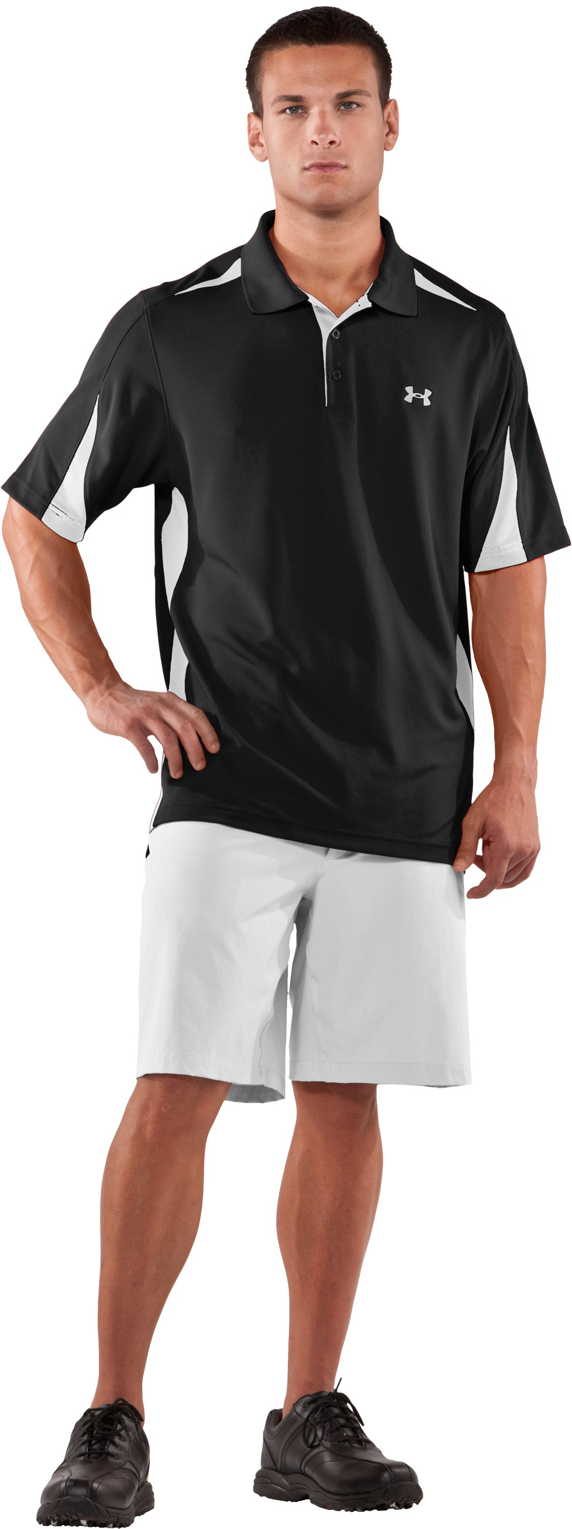 Men's UA Performance Colorblock Polo, Black , Front