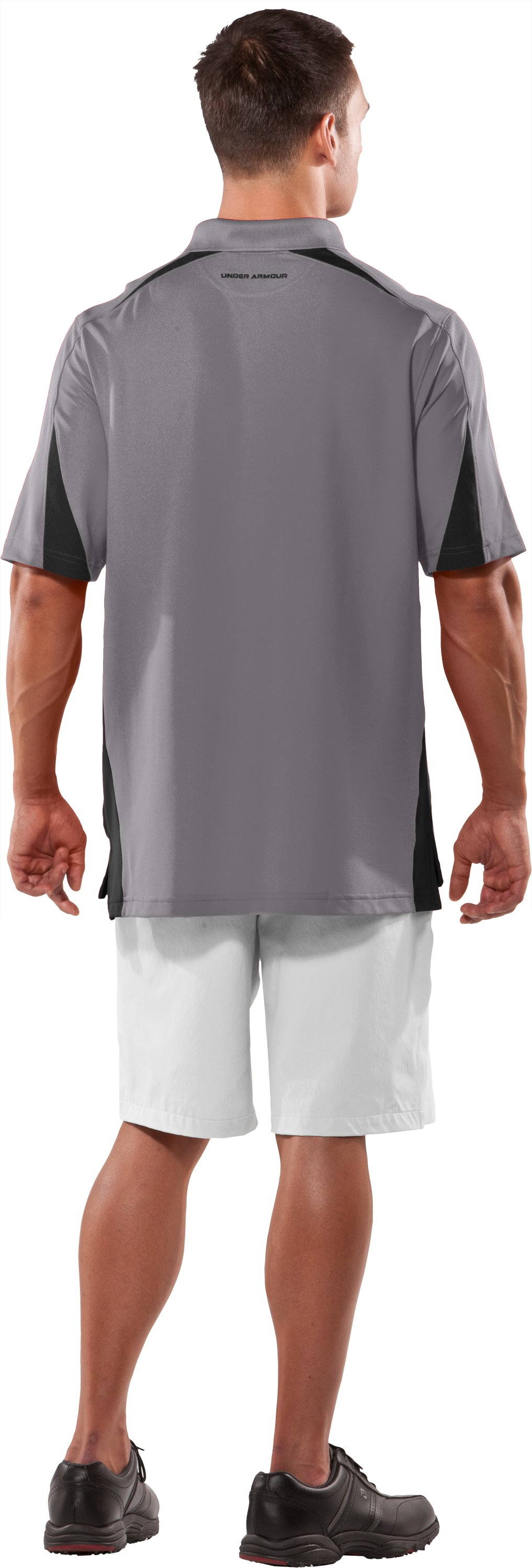 Men's UA Performance Colorblock Polo, Concrete, Back
