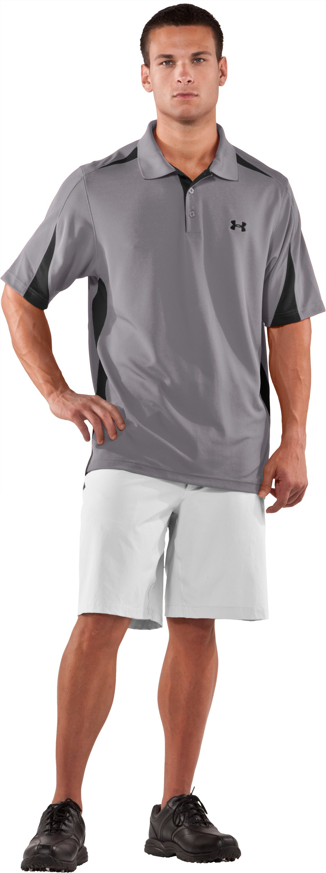Men's UA Performance Colorblock Polo, Concrete, zoomed image