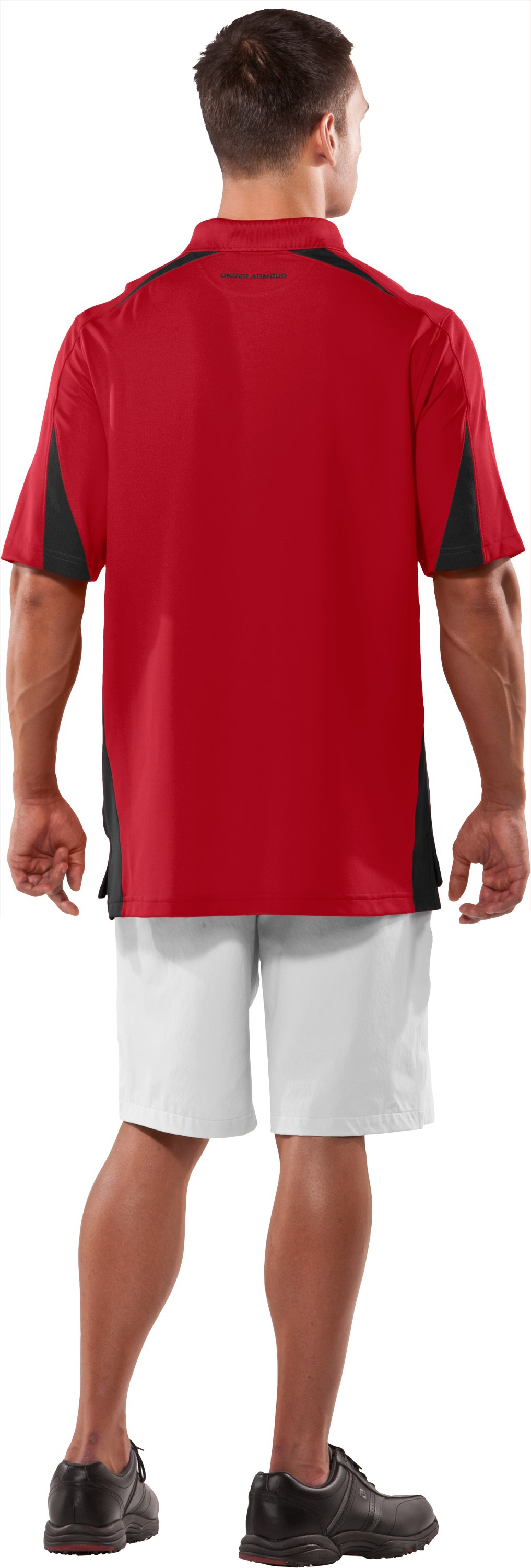 Men's UA Performance Colorblock Polo, Red, Back