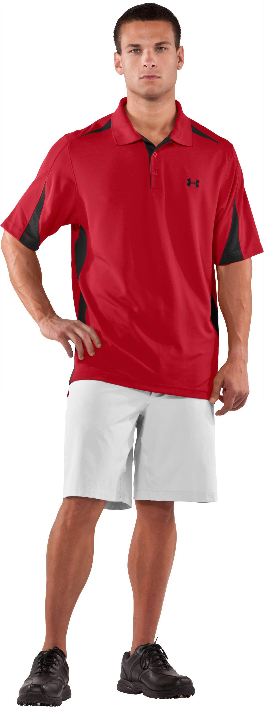 Men's UA Performance Colorblock Polo, Red, zoomed image
