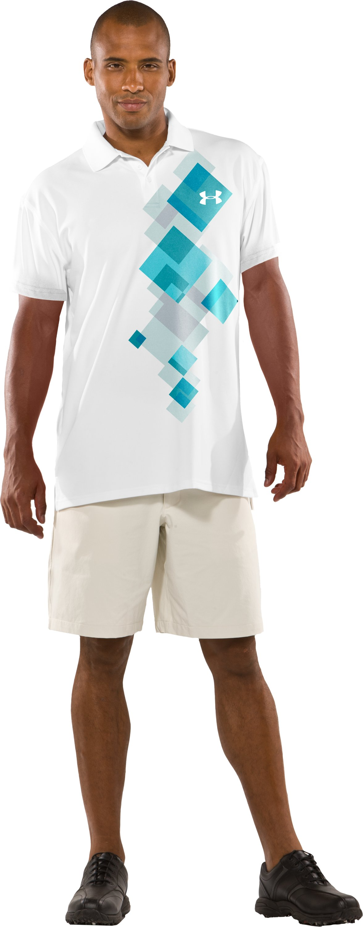 Men's Performance Graphic Polo, White, Front