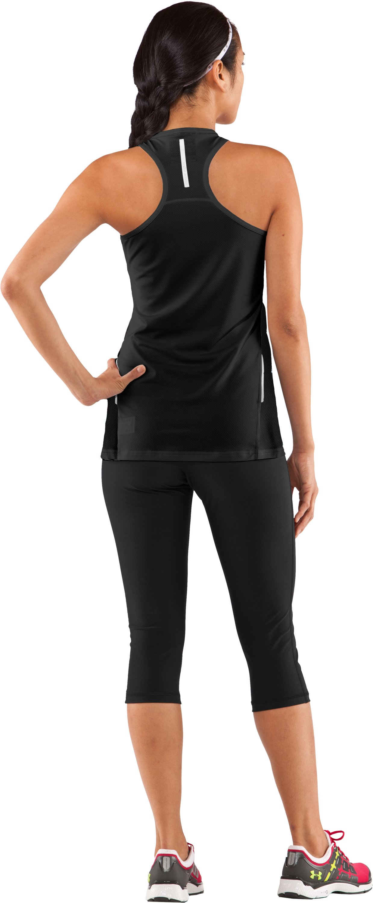 Women's coldblack® UA Run Tank, Black , Back