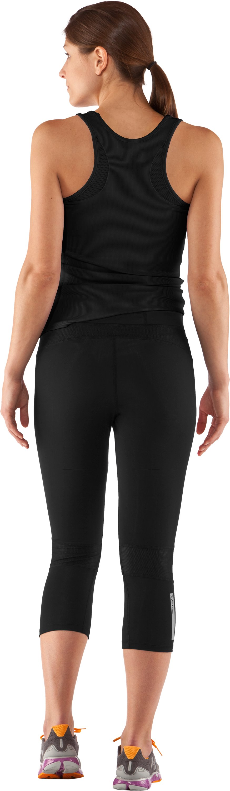 Women's UA Tough Run Capri, Black , Back