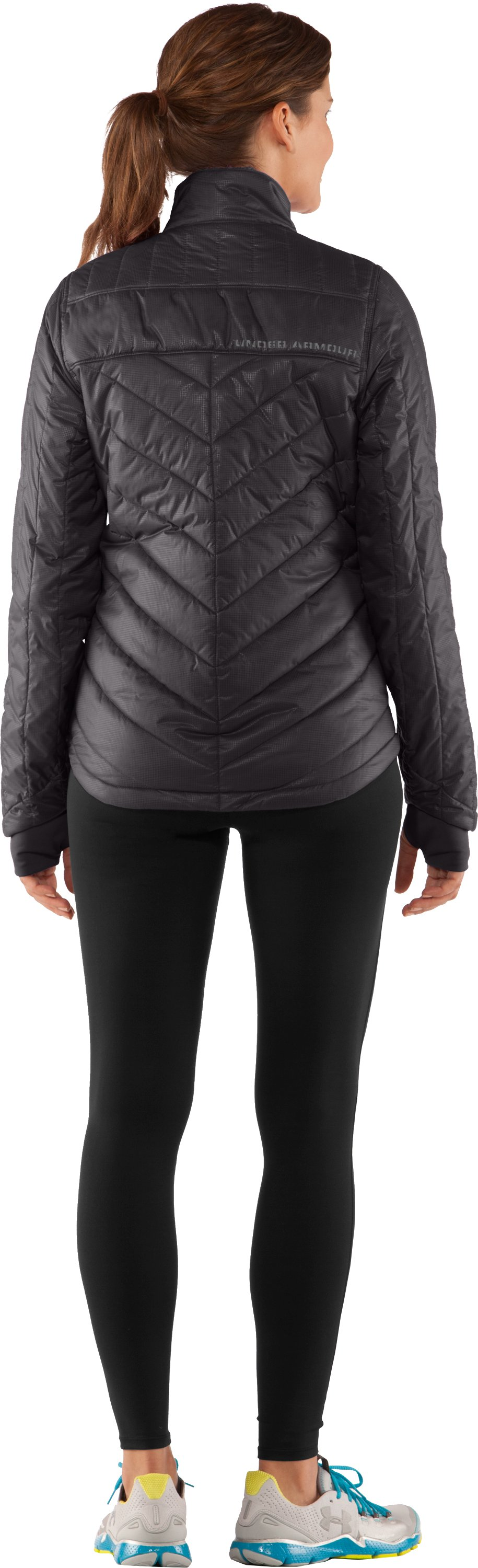Women's UA Storm Rivalry Jacket, Charcoal, Back