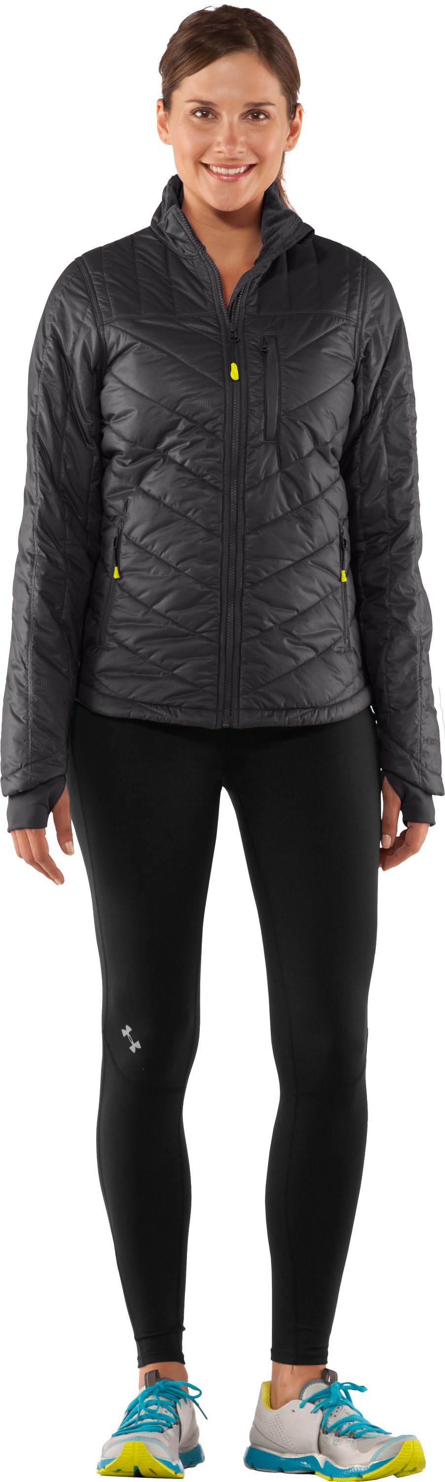 Women's UA Storm Rivalry Jacket, Charcoal, Front