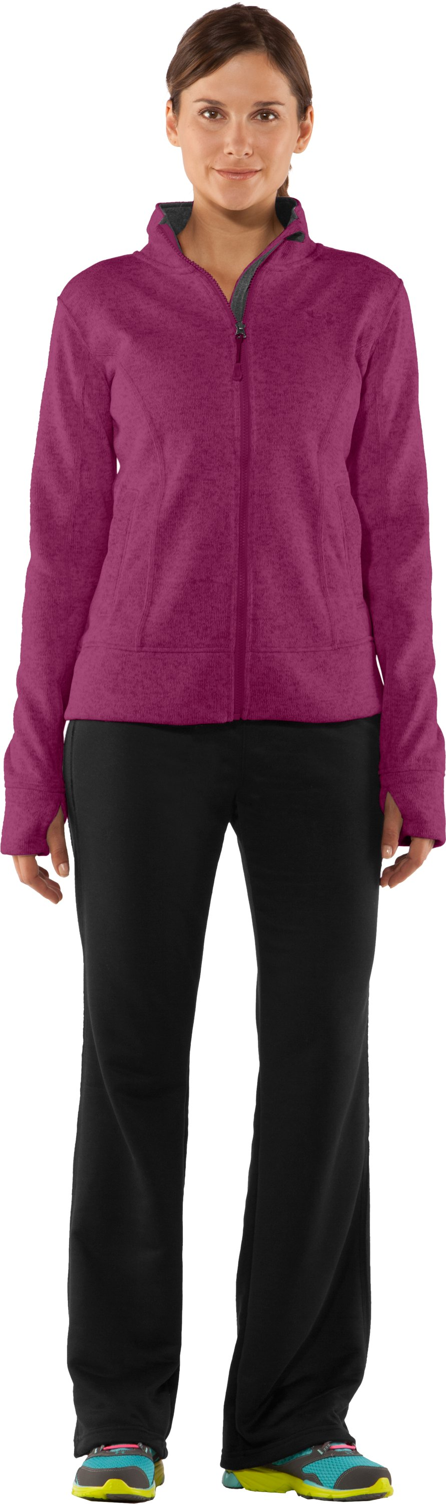 Women's UA Storm Rally Jacket, Rosewood, Front