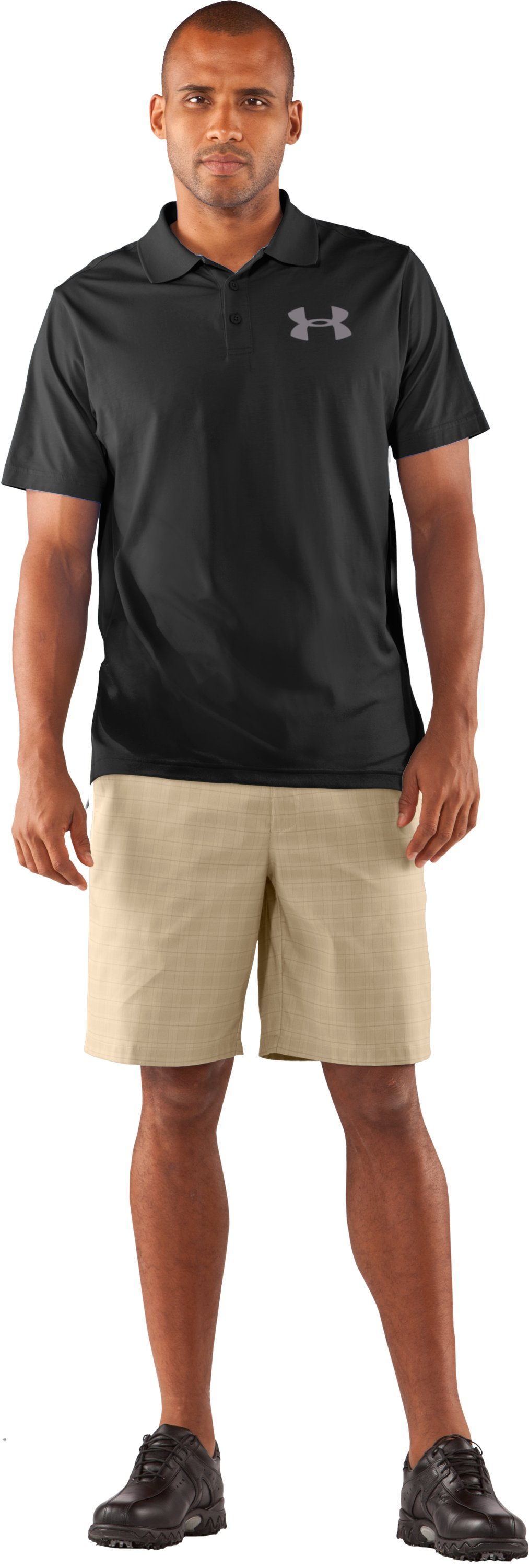 Men's Charged Cotton® Jersey Solid Polo, Black , zoomed image