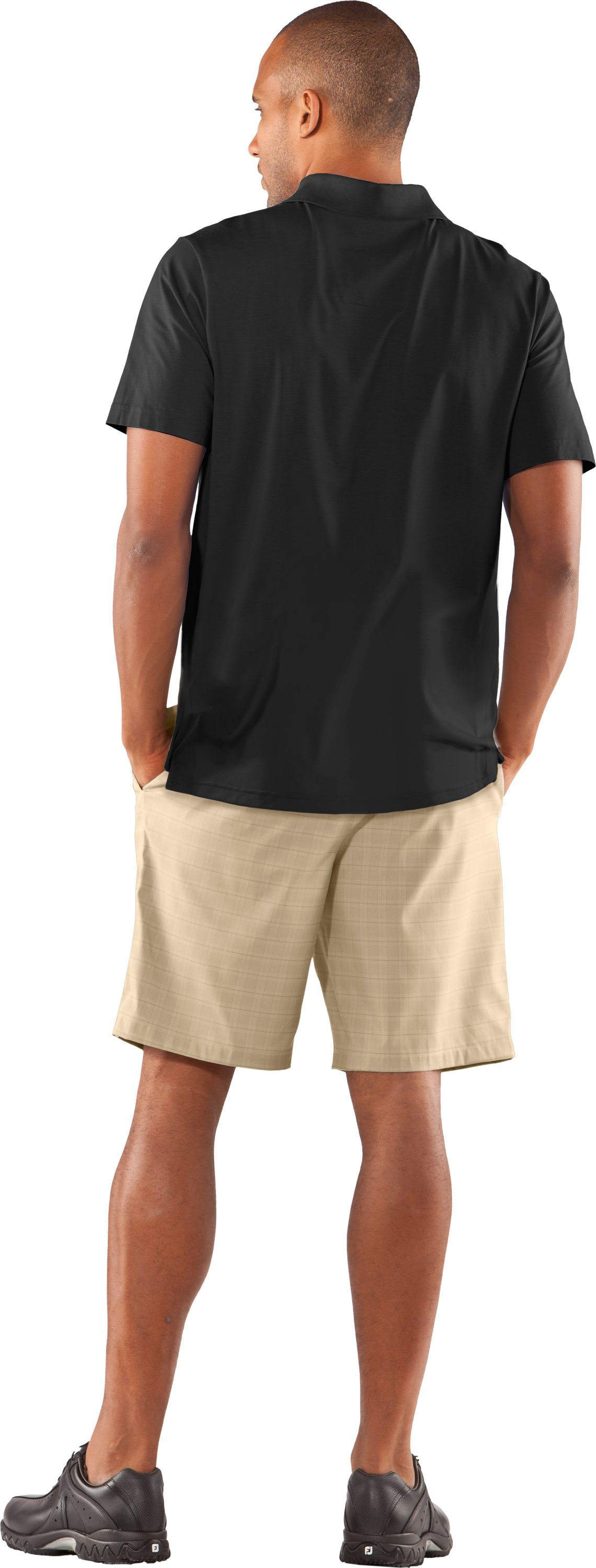 Men's Charged Cotton® Jersey Solid Polo, Black , Back