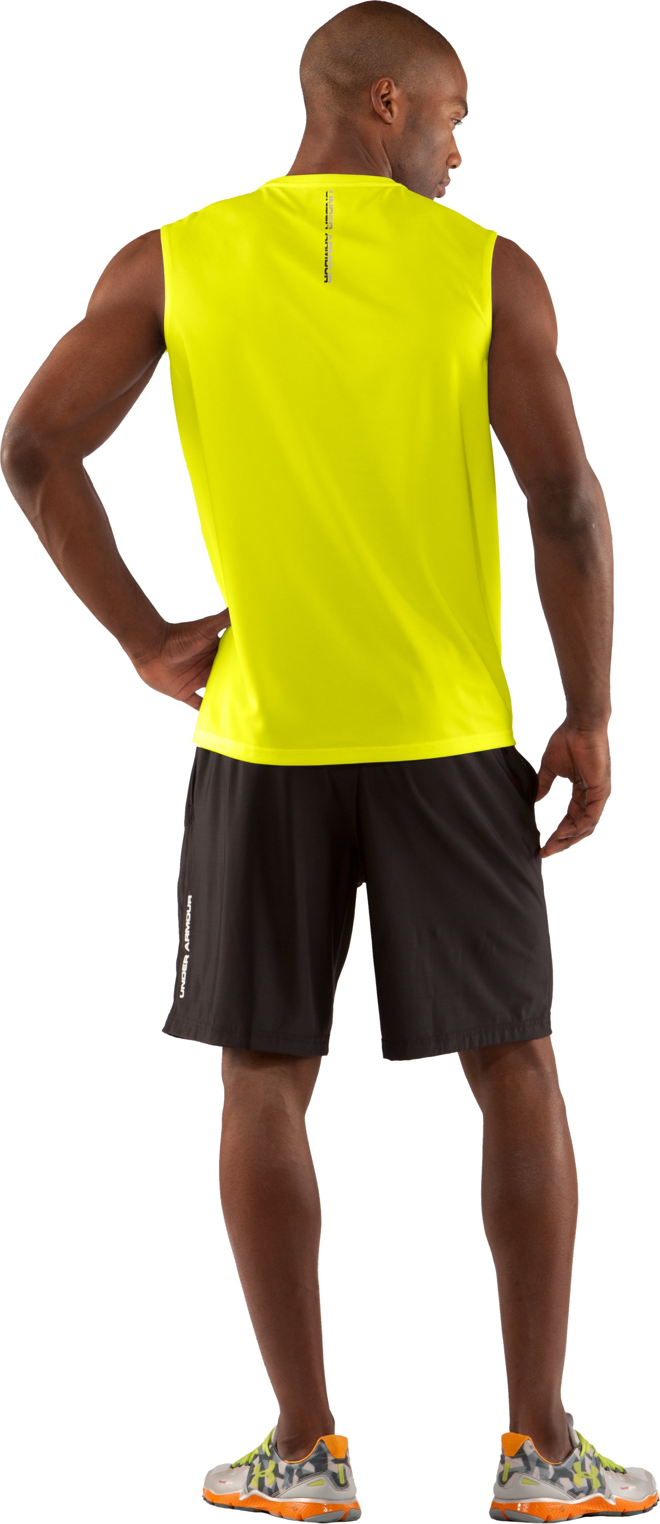 Men's UA Run HeatGear® Sleeveless T-Shirt, High-Vis Yellow, Back