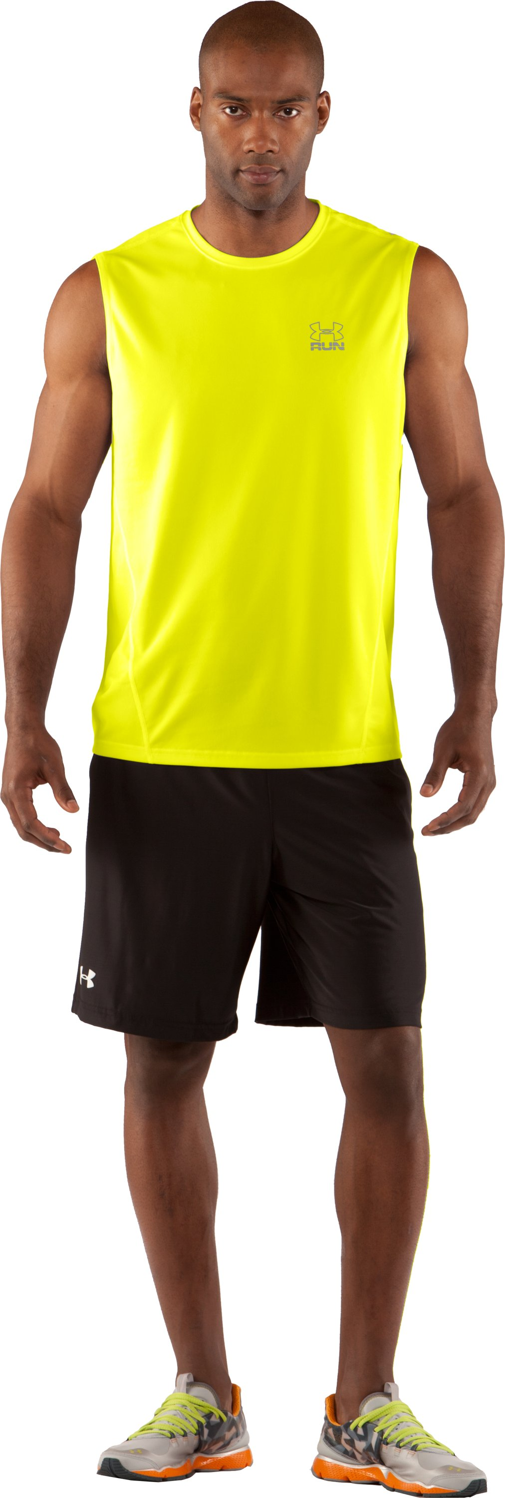 Men's UA Run HeatGear® Sleeveless T-Shirt, High-Vis Yellow, Front