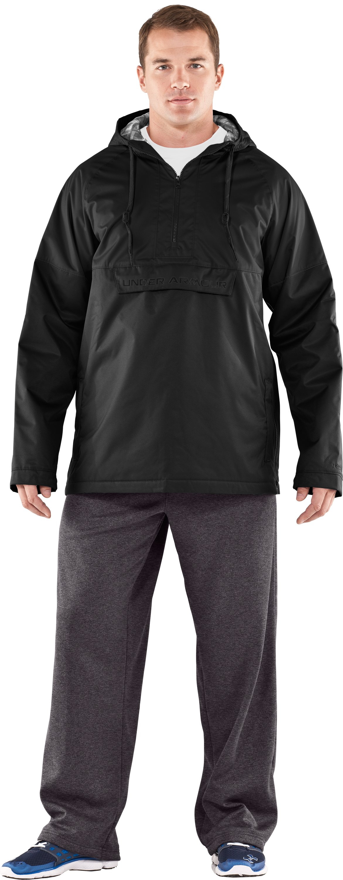 Men's UA Reign Anorak Storm Jacket, Black , Front