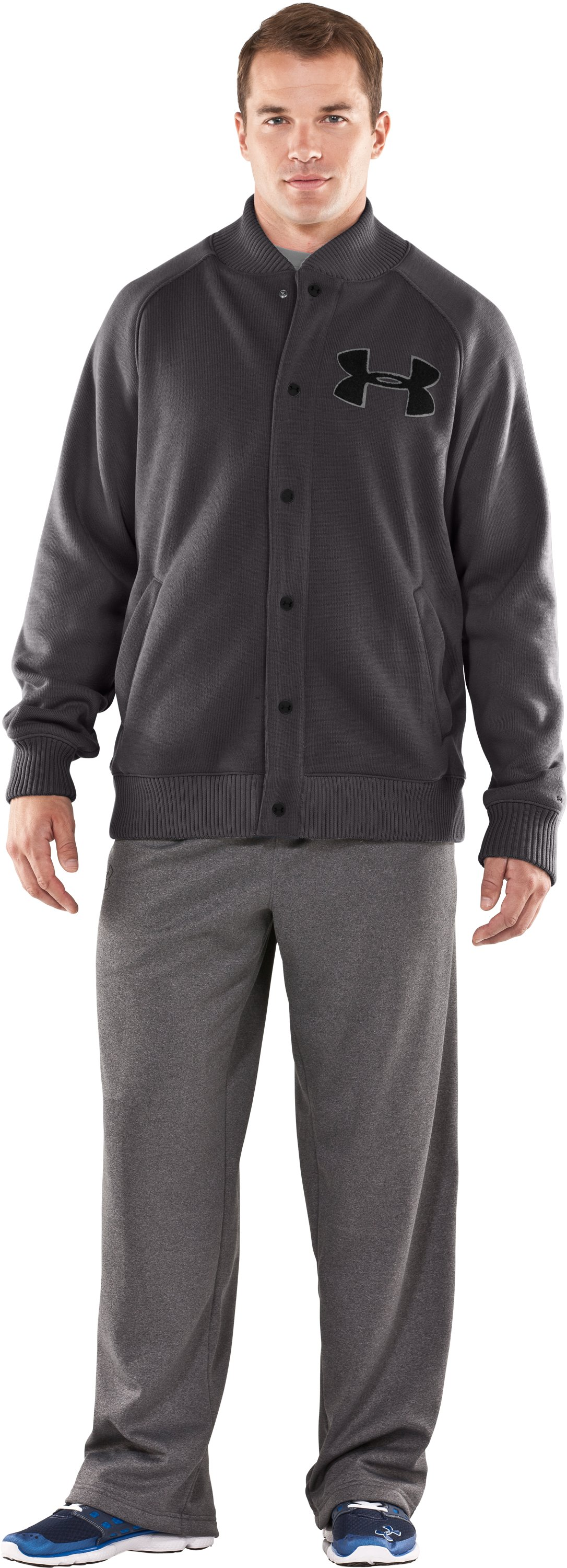 Men's UA Rally Storm Jacket, Charcoal, Front