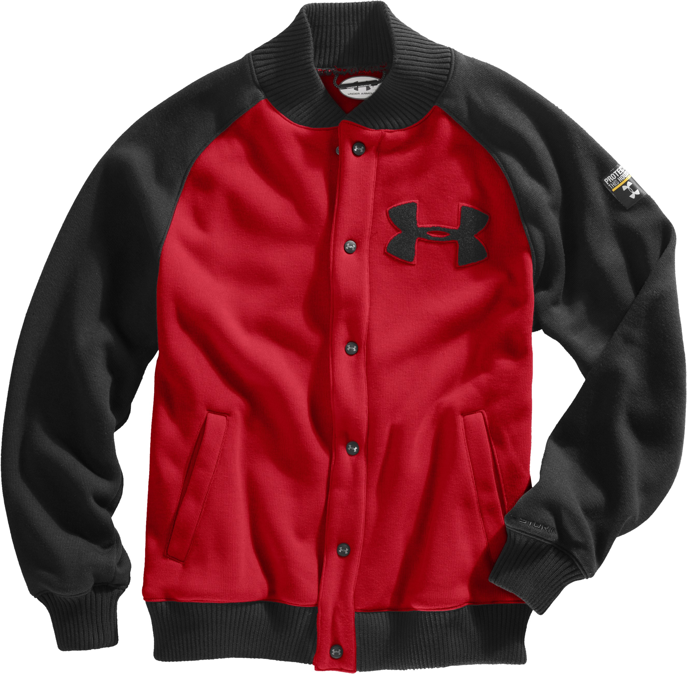 Men's UA Rally Storm Jacket, Red, Laydown