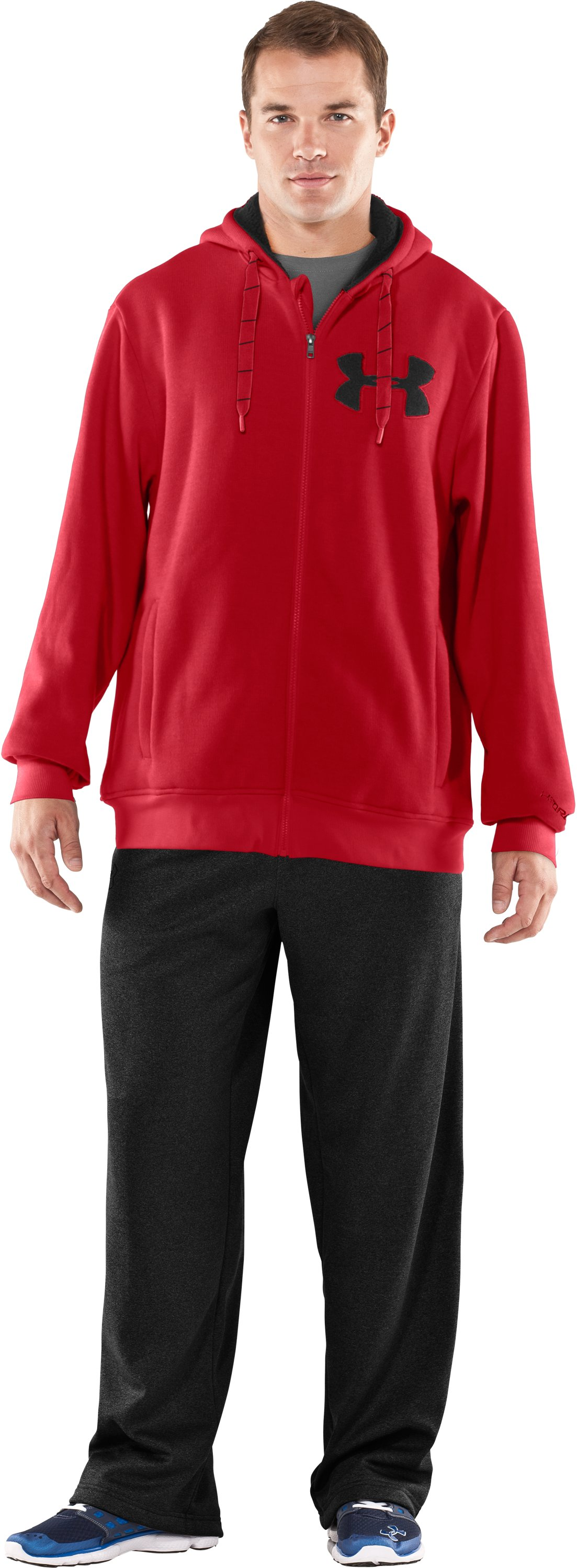 Men's UA Rally Storm Hoodie, Red, Front