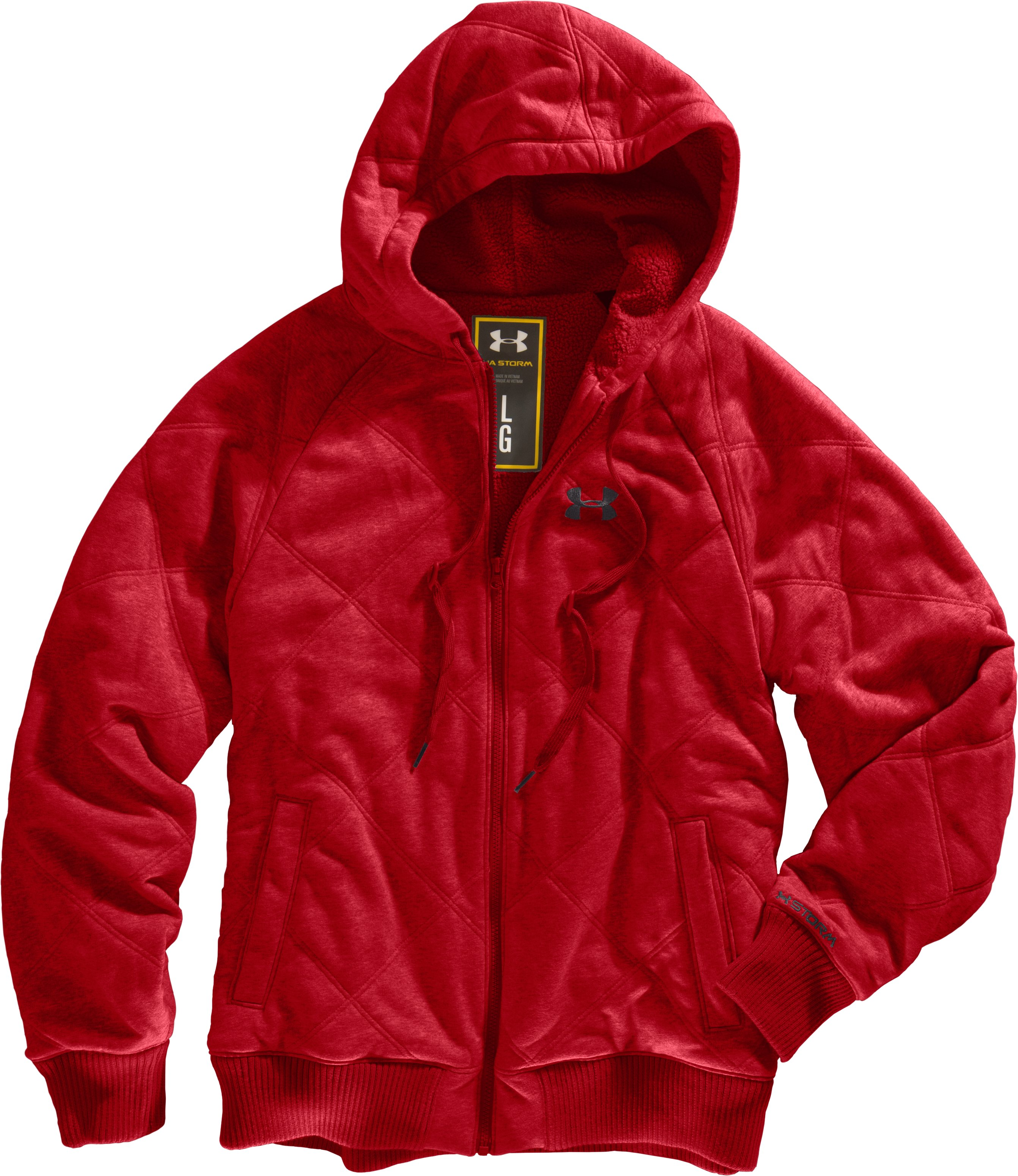 Men's UA Quilted Storm Hoodie, Red, Laydown