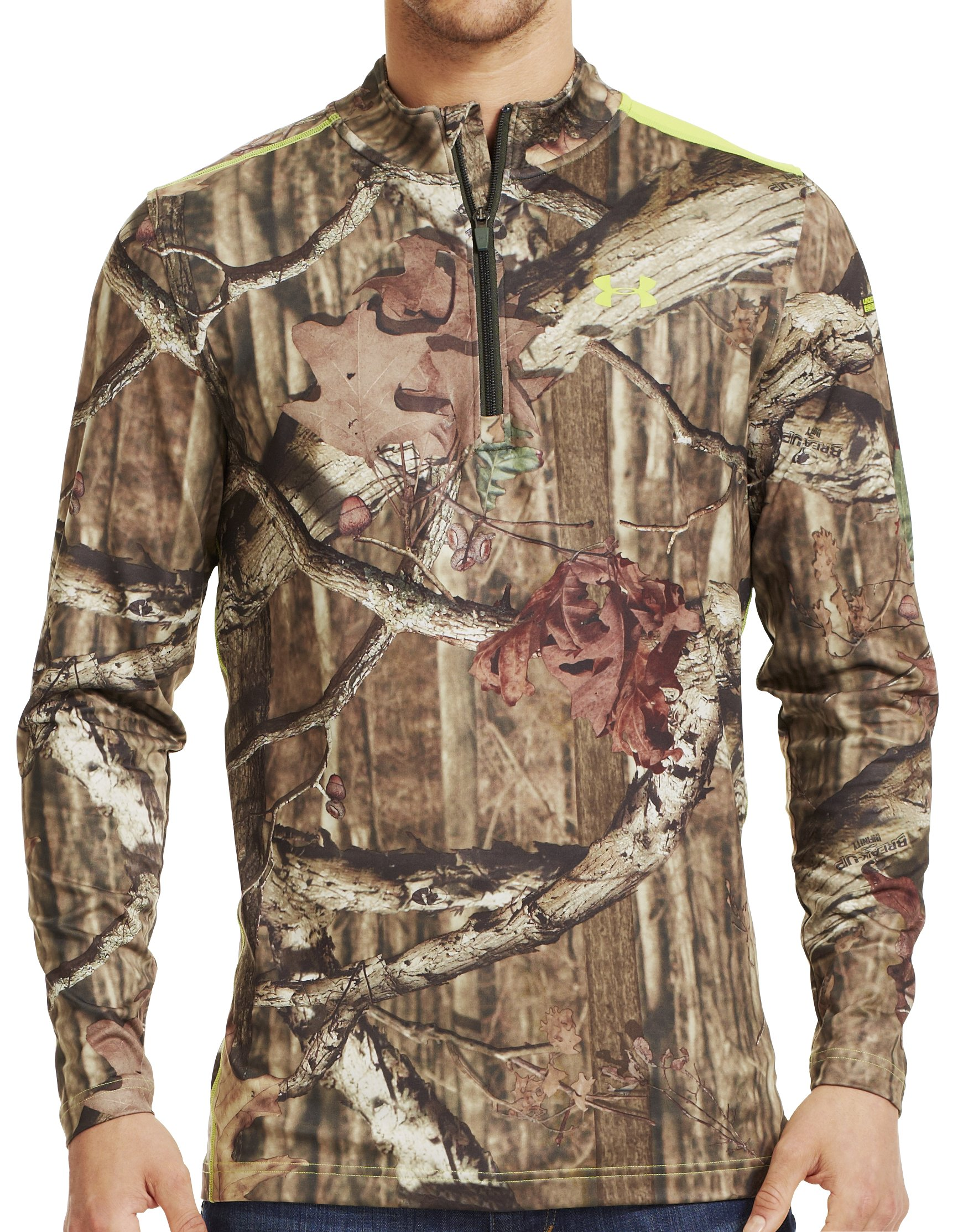 Men's ColdGear® Evo Scent Control Fitted ¼ Zip, Mossy Oak Break-Up Infinity, zoomed image