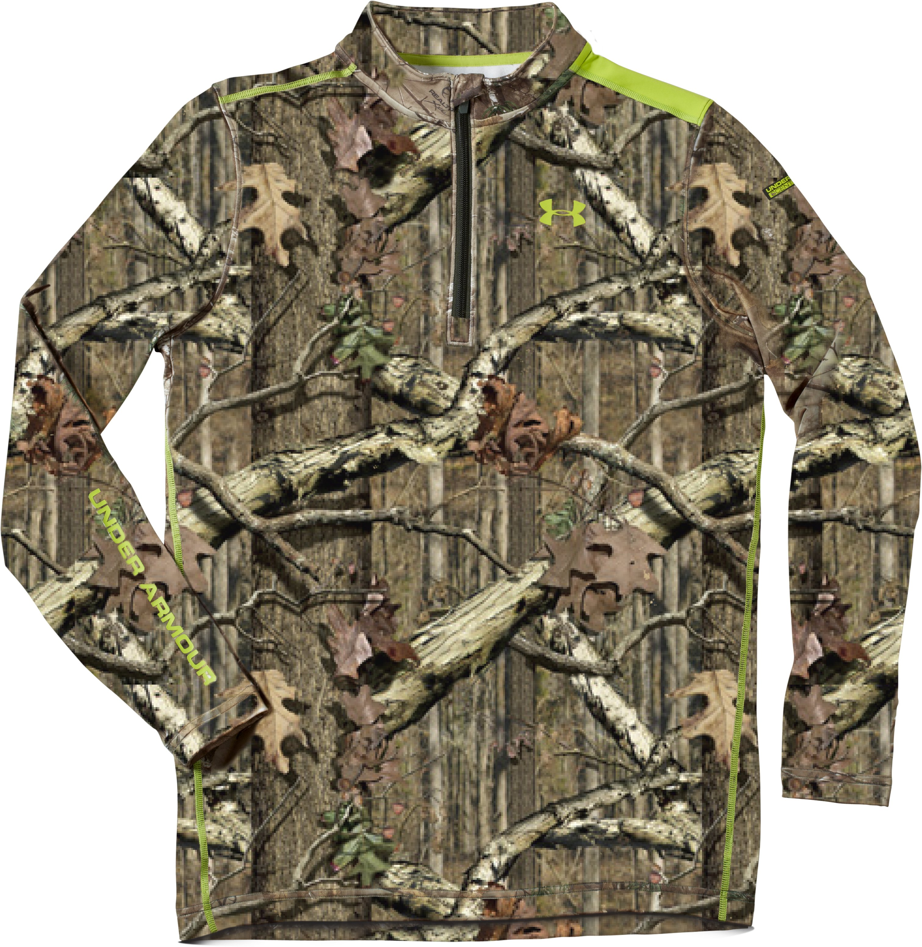 Men's ColdGear® Evo Scent Control Fitted ¼ Zip, Mossy Oak Break-Up Infinity, Laydown