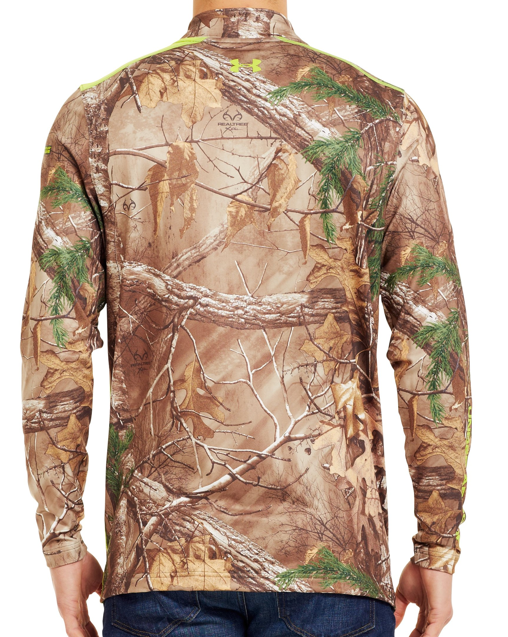 Men's ColdGear® Evo Scent Control Fitted ¼ Zip, REALTREE AP-XTRA, Back
