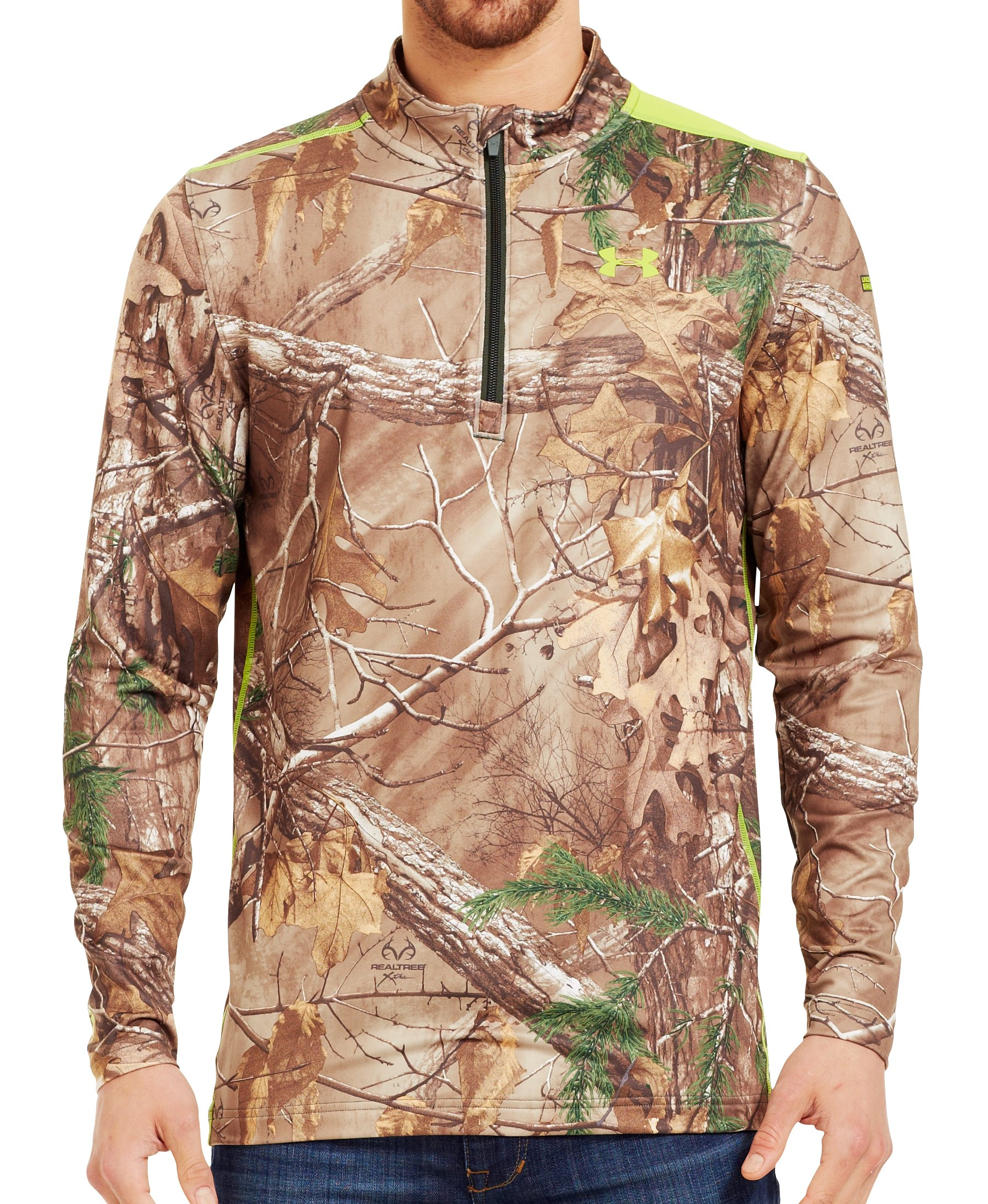 Men's ColdGear® Evo Scent Control Fitted ¼ Zip, REALTREE AP-XTRA, Front