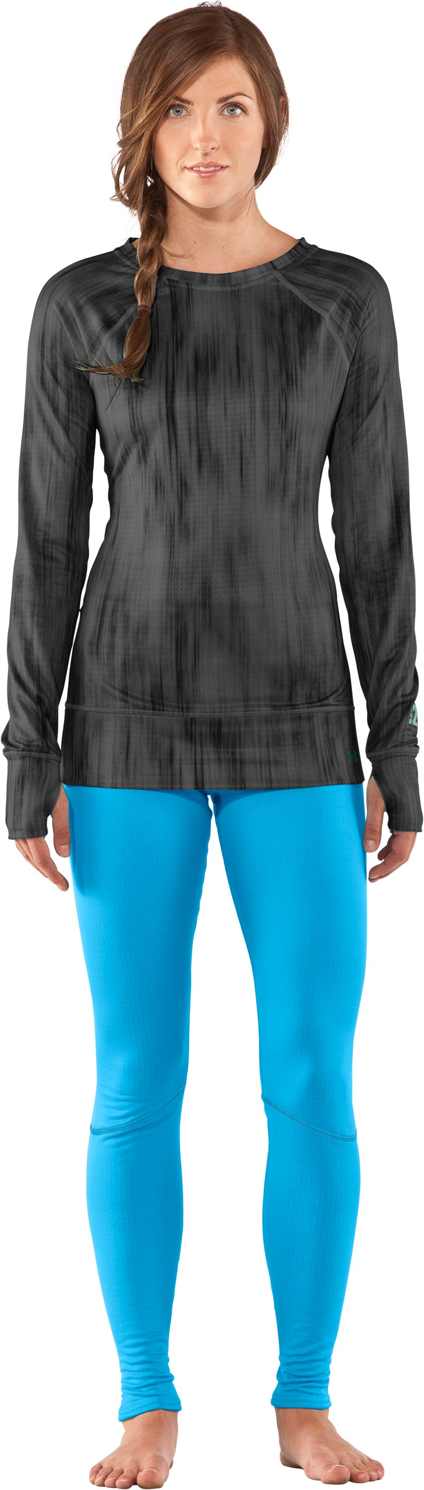 Women's UA Base™ 2.0 Avalanche Crew, Black , zoomed image