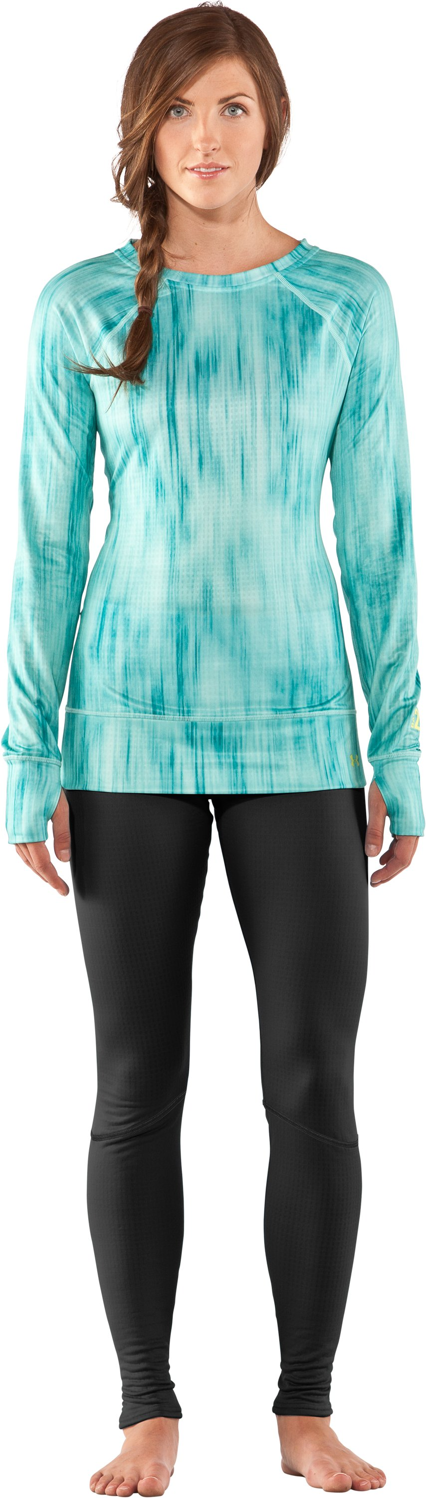 Women's UA Base™ 2.0 Avalanche Crew, Mermaid, zoomed image
