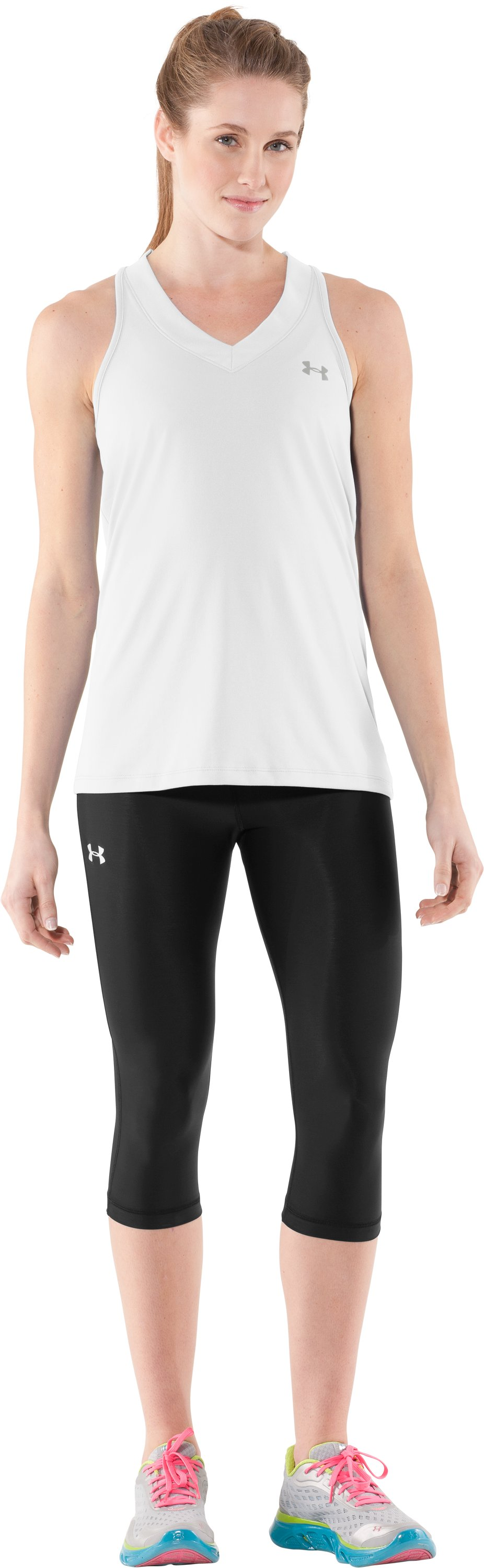 Women's UA Tech™ Sleeveless Tank, White, Front