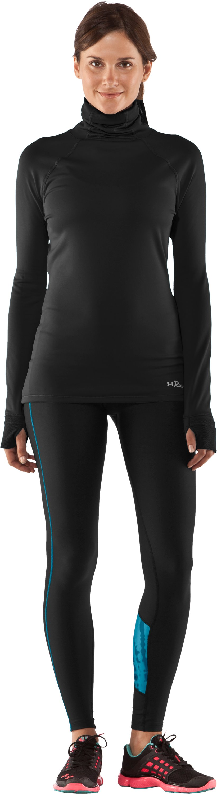 Women's UA ColdGear® Print Blocked Tight, Black , Front