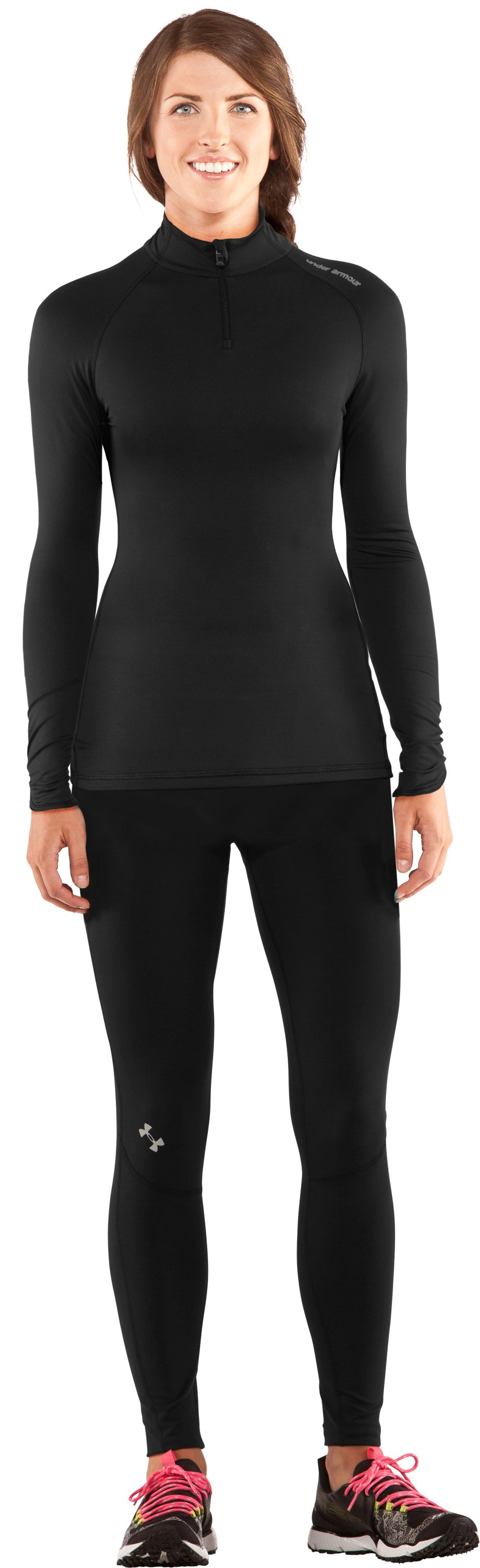Women's Fitted ColdGear® ¼ Zip, Black , Front