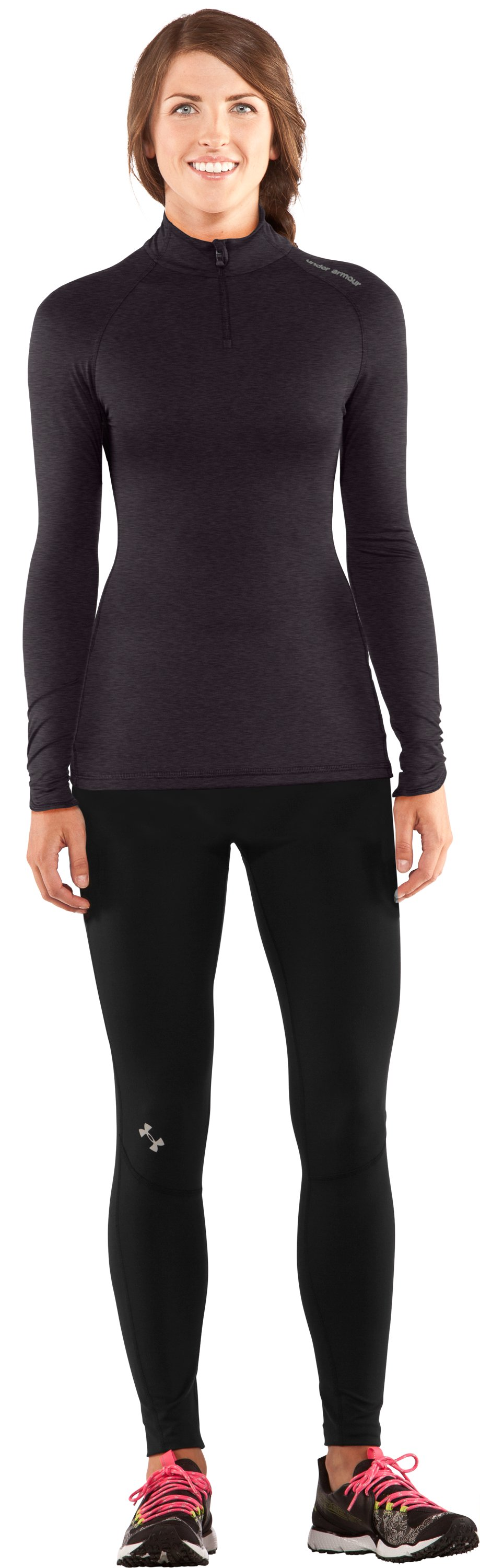 Women's Fitted ColdGear® ¼ Zip, Carbon Heather, zoomed image