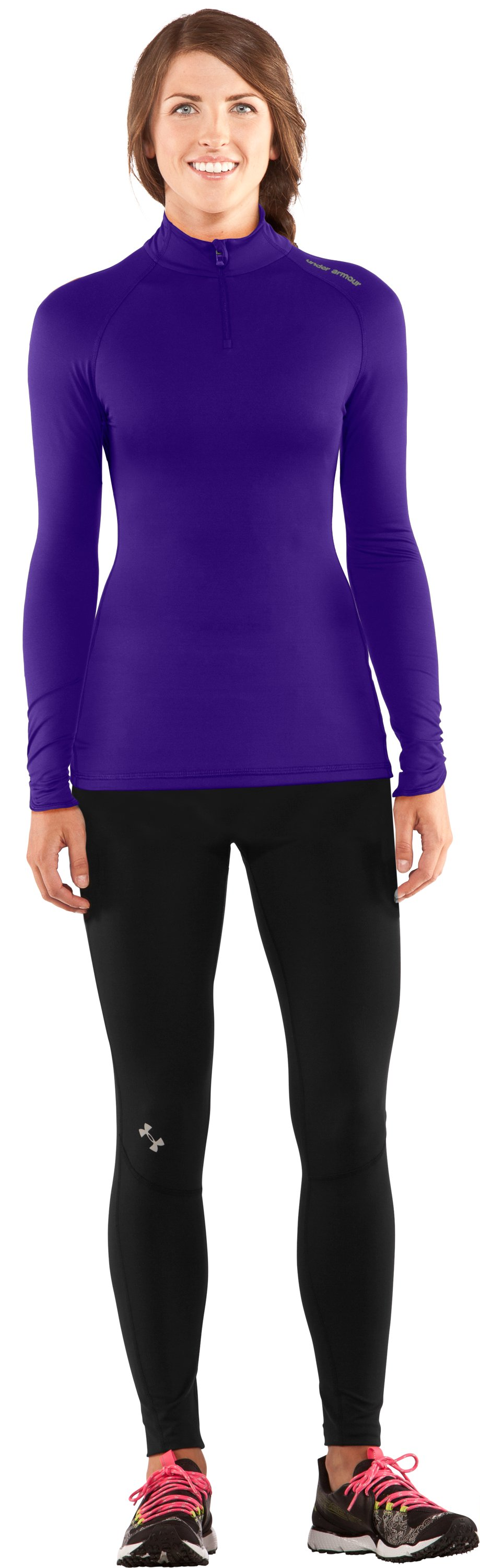 Women's Fitted ColdGear® ¼ Zip, Pluto, zoomed image