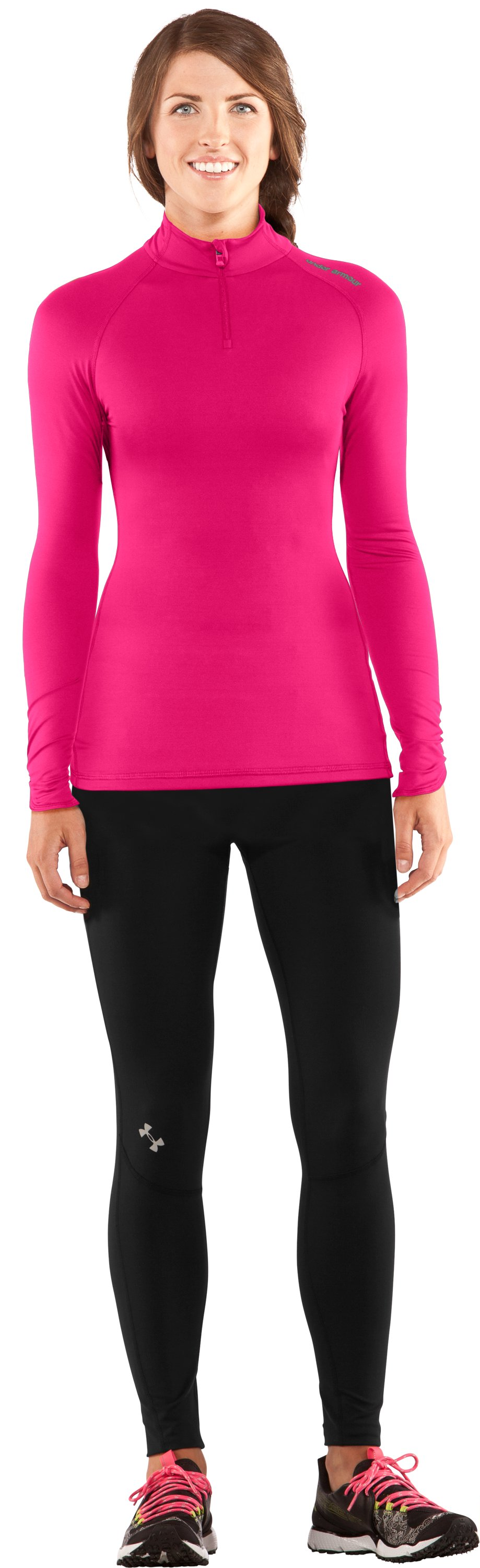 Women's Fitted ColdGear® ¼ Zip, Cerise, Front