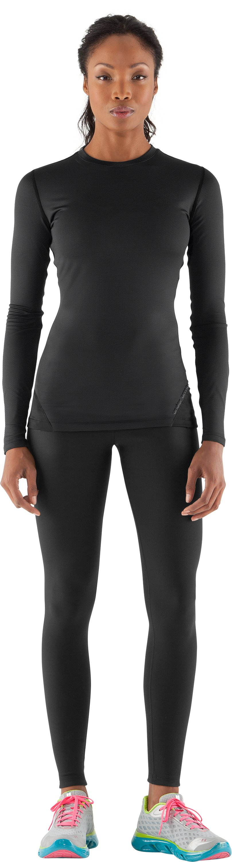 Women's ColdGear® Thermo Crew, Black , Front