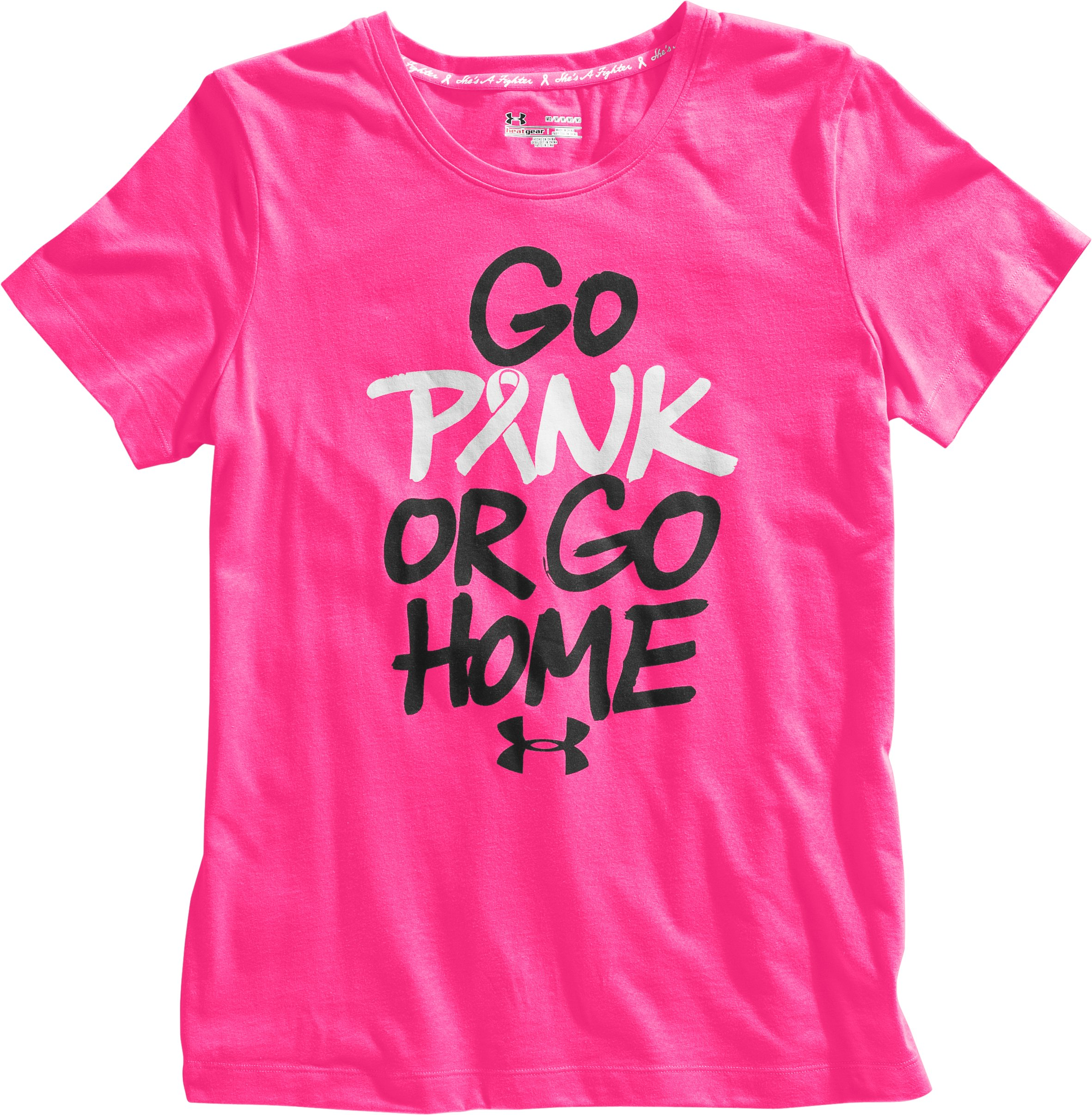 Women's PIP® UA Go Pink Or Go Home T-Shirt, Cerise, Laydown