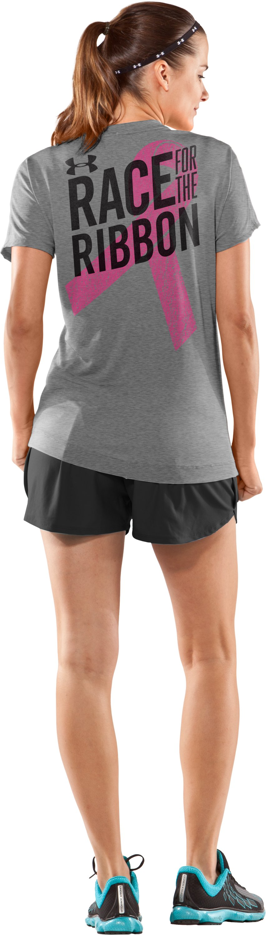 Women's PIP® Race For The Ribbon V-Neck, True Gray Heather, Back