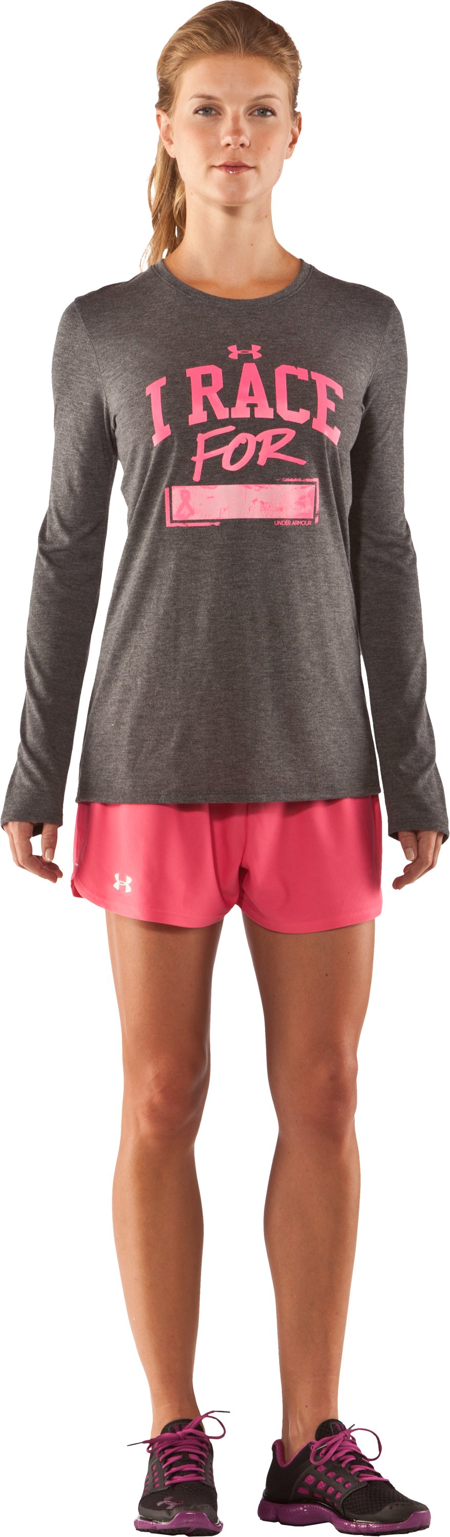 Women's PIP® I Race For Long Sleeve, Carbon Heather, Front