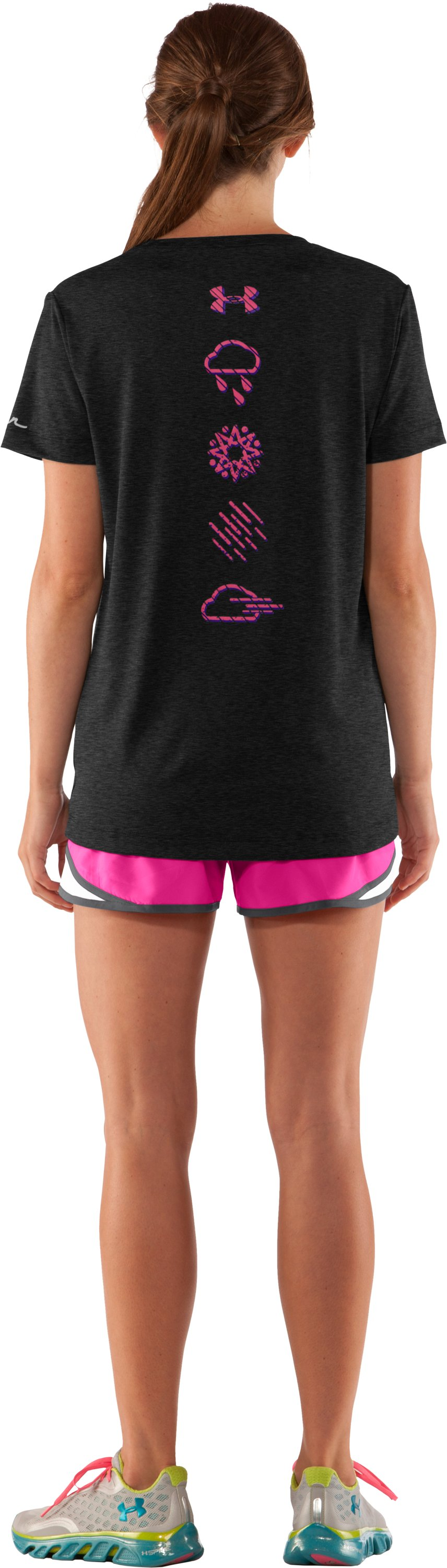 Women's UA Brave The Run™ Short Sleeve, Asphalt Heather, Back