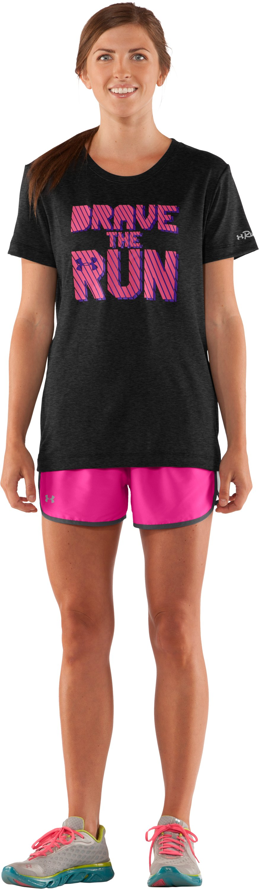 Women's UA Brave The Run™ Short Sleeve, Asphalt Heather, Front