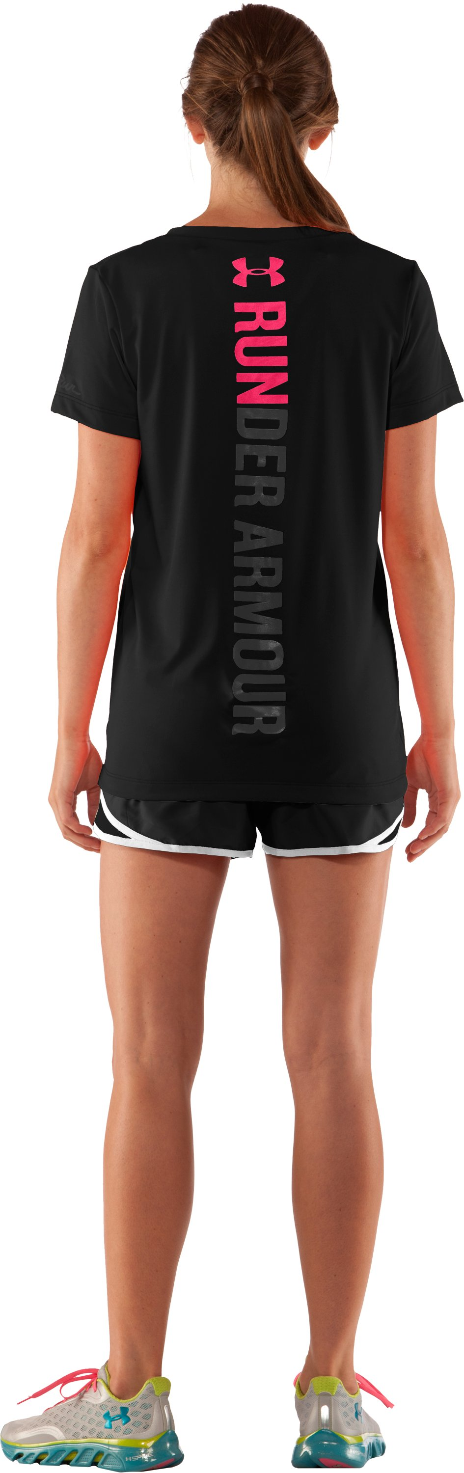 Women's Under Armour Run V-Neck, Black , Back
