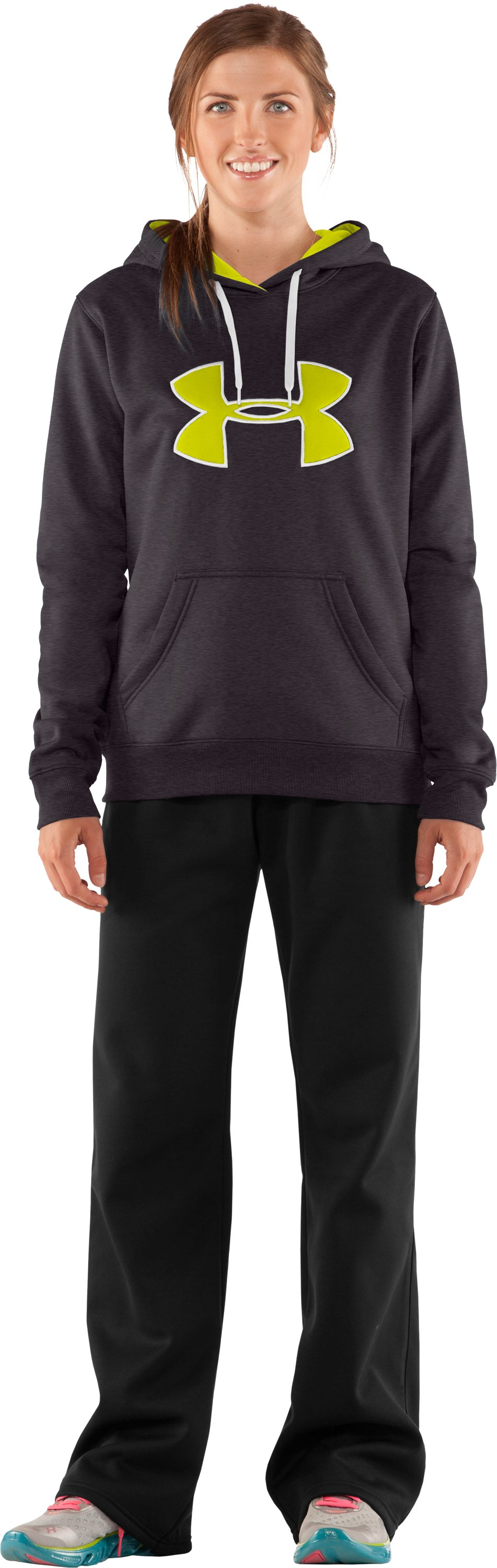 Women's Armour® Fleece Storm Big Logo Hoodie, Carbon Heather, Front