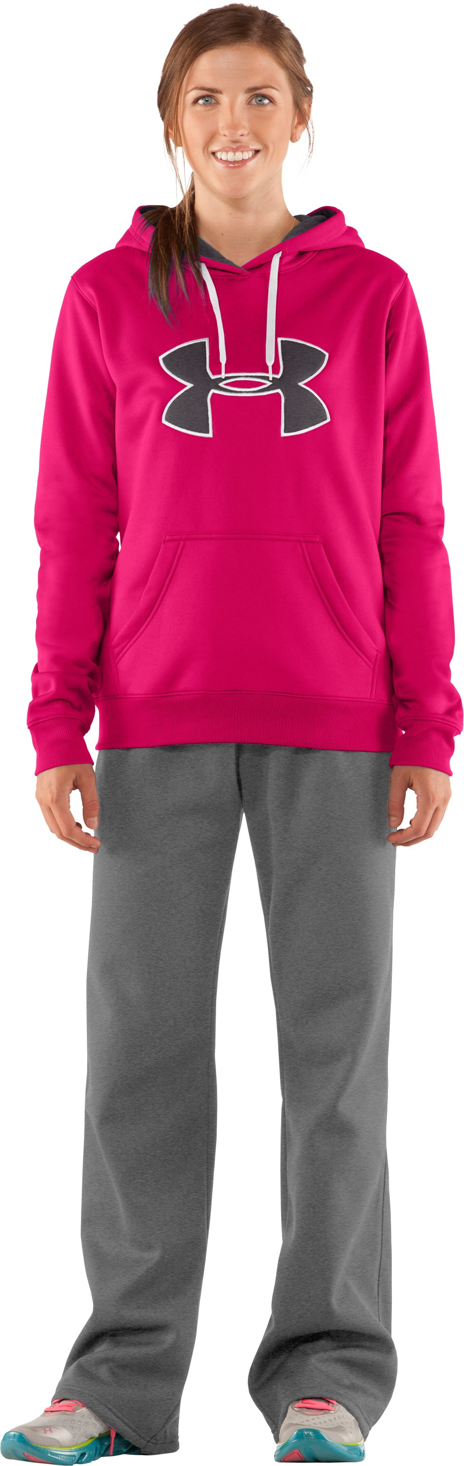 Women's Armour® Fleece Storm Big Logo Hoodie, Cerise, Front