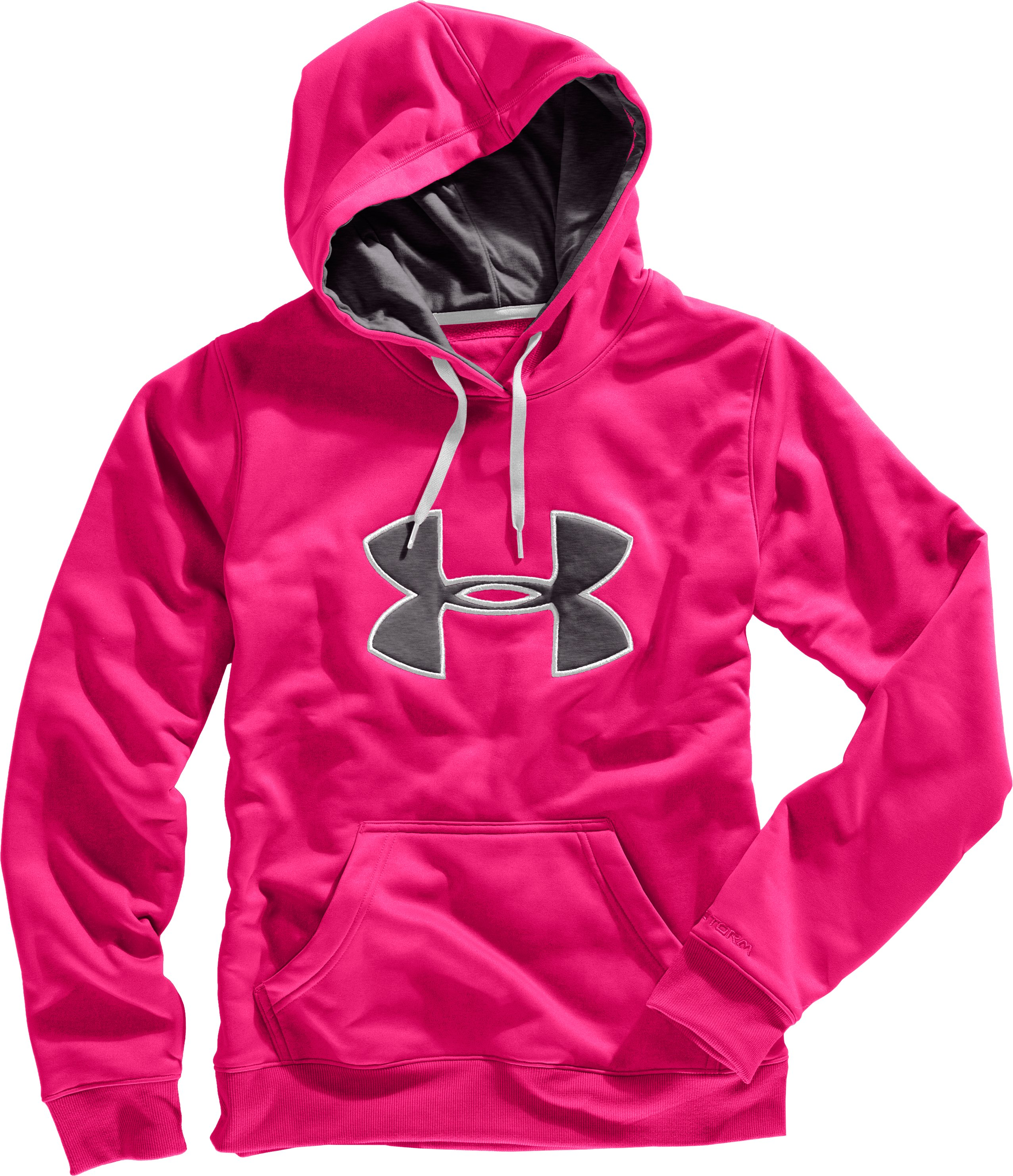 Women's Armour® Fleece Storm Big Logo Hoodie, Cerise, Laydown