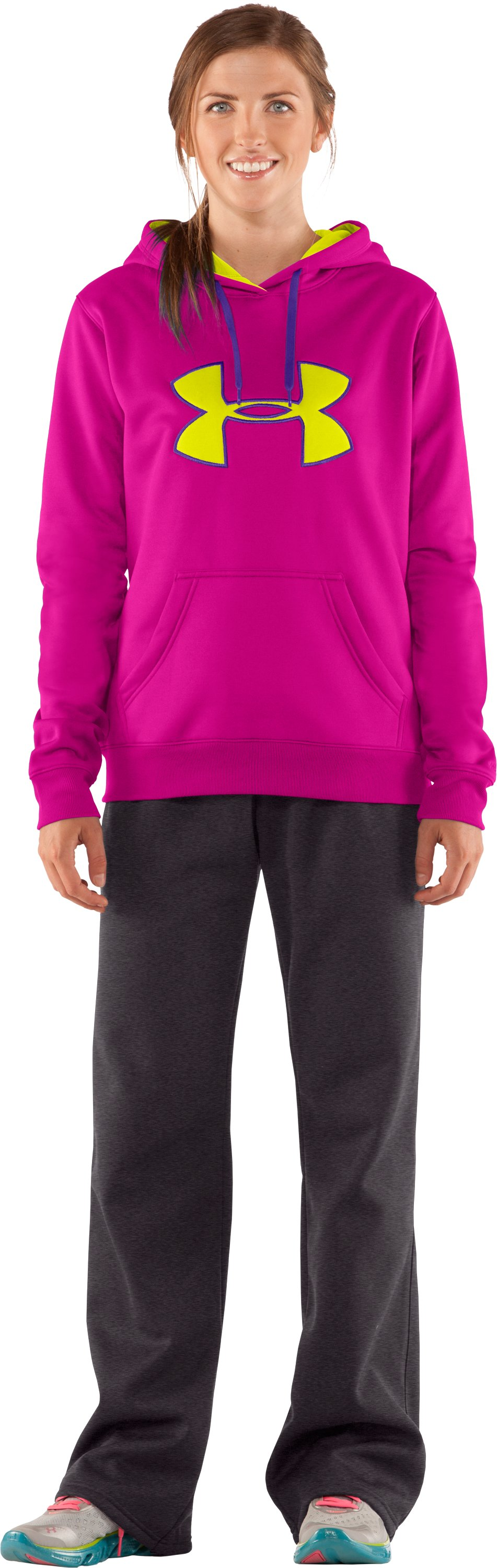 Women's Armour® Fleece Storm Big Logo Hoodie, Tropic Pink, Front