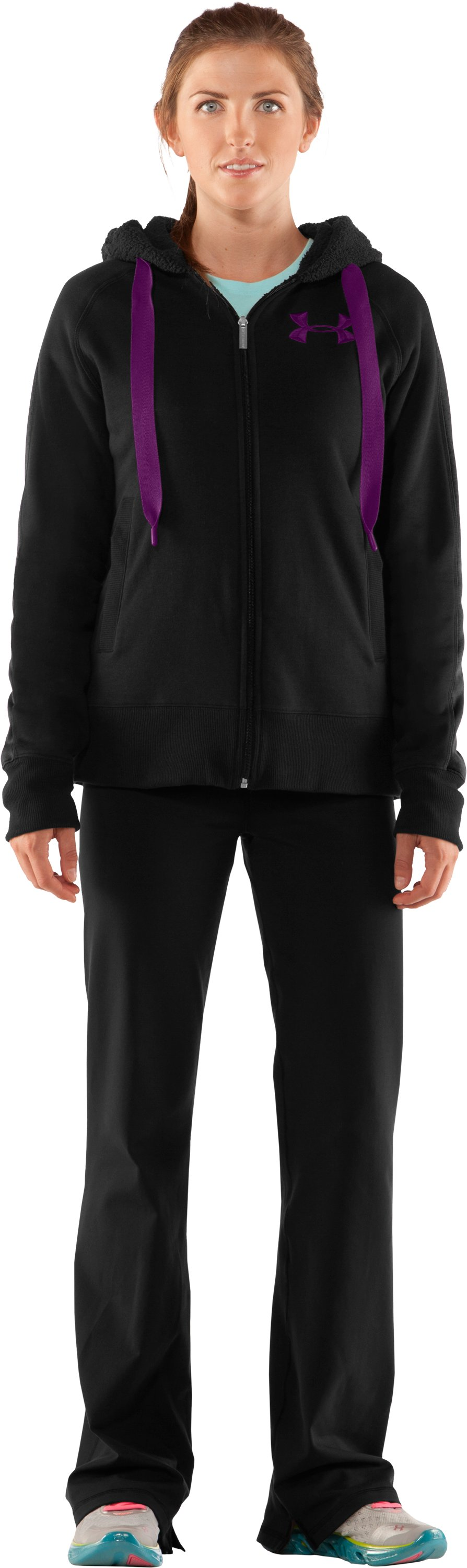 Women's Charged Cotton® Storm Sherpa Full Zip Hoodie, Black , zoomed image