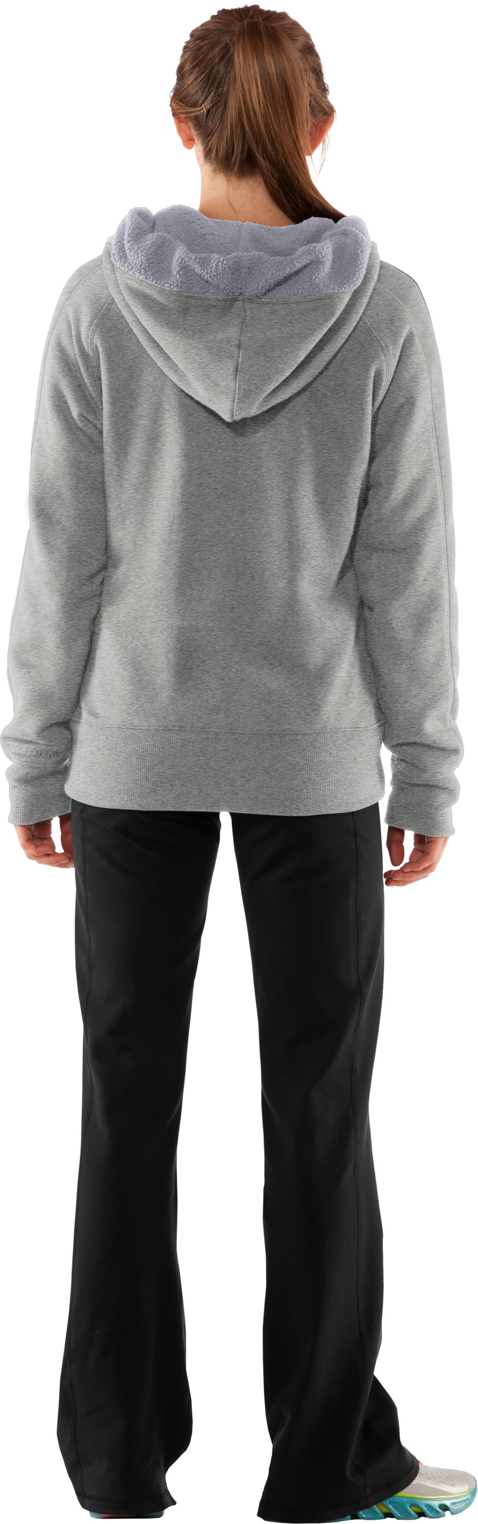 Women's Charged Cotton® Storm Sherpa Full Zip Hoodie, Silver Heather, Back