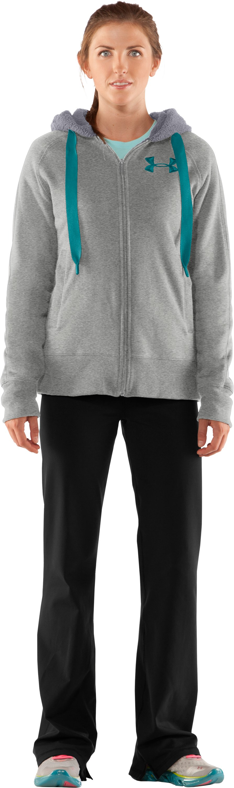 Women's Charged Cotton® Storm Sherpa Full Zip Hoodie, Silver Heather, Front