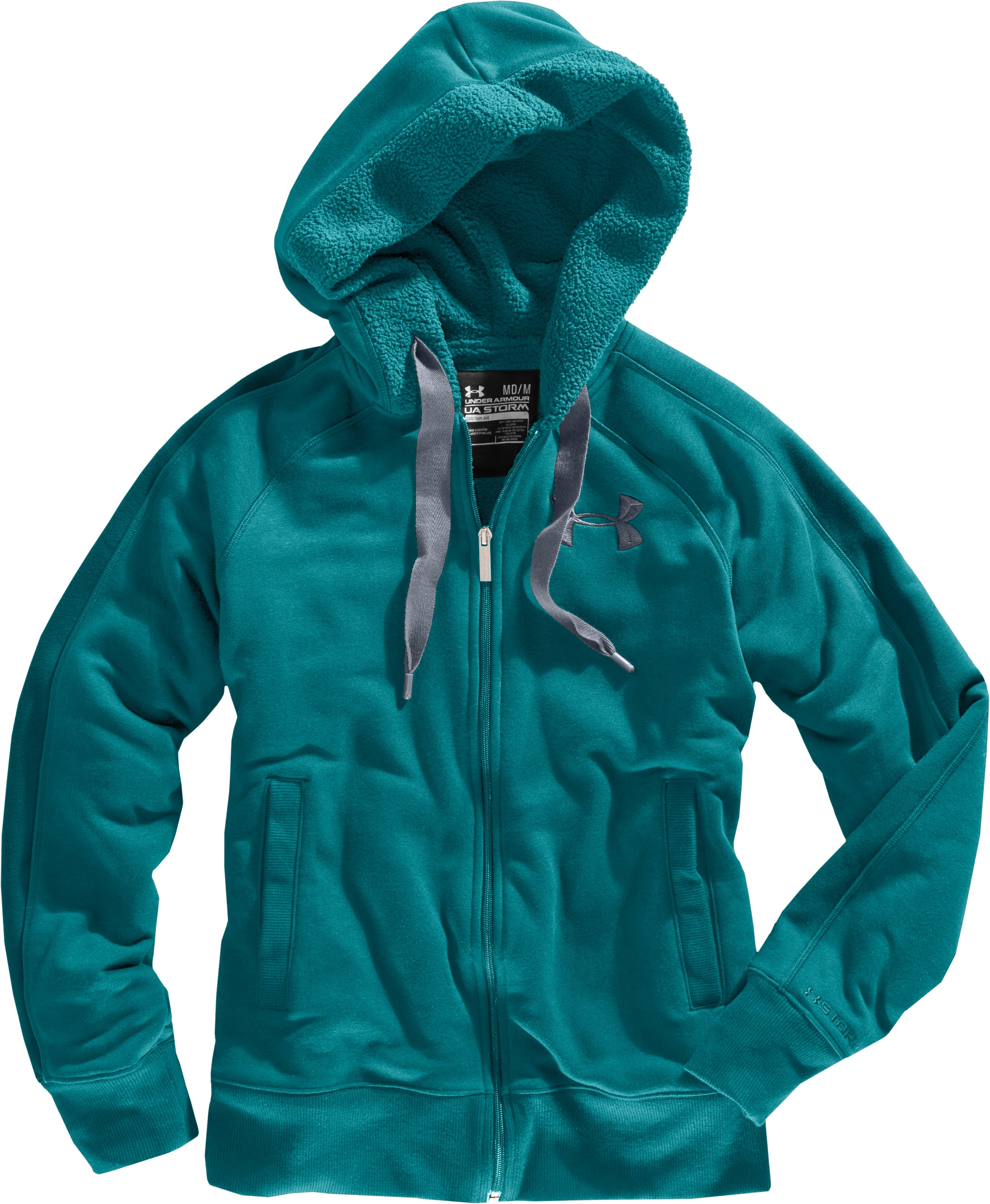 Women's Charged Cotton® Storm Sherpa Full Zip Hoodie, Flow, Laydown
